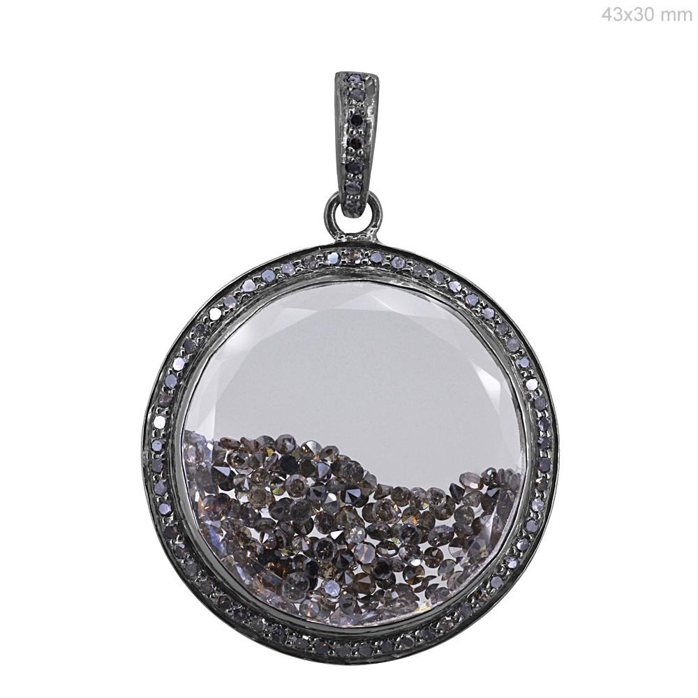 925 sterling silver real loose diamond crystal shaker pendant