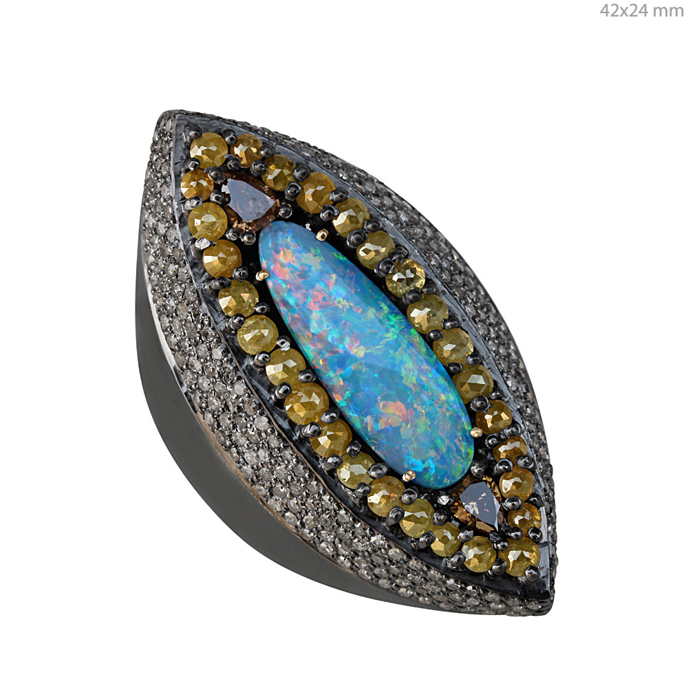 Pave diamond fine ring adorned with opal & solid gold 925 silver