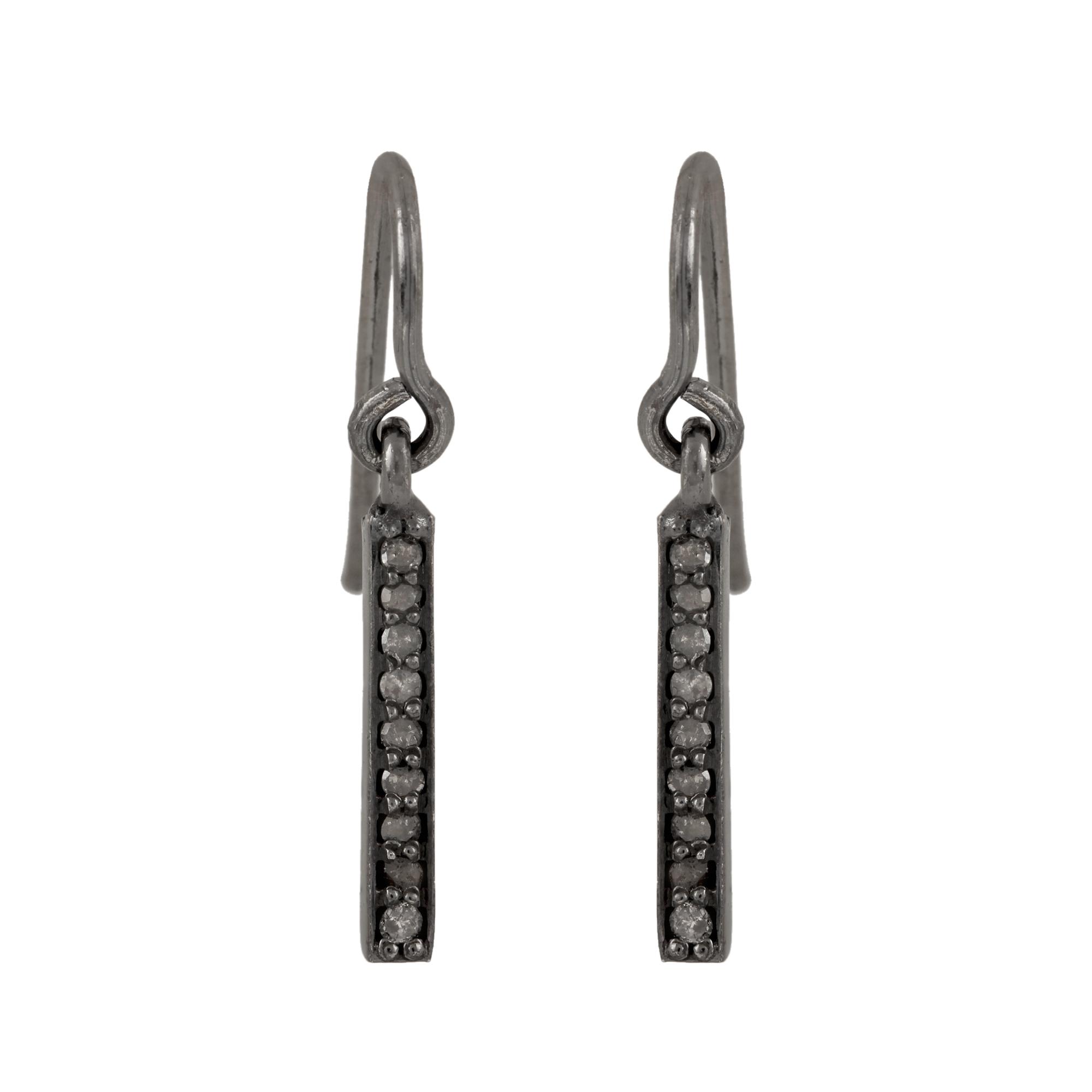 925 sterling silver natural diamond hook earrings