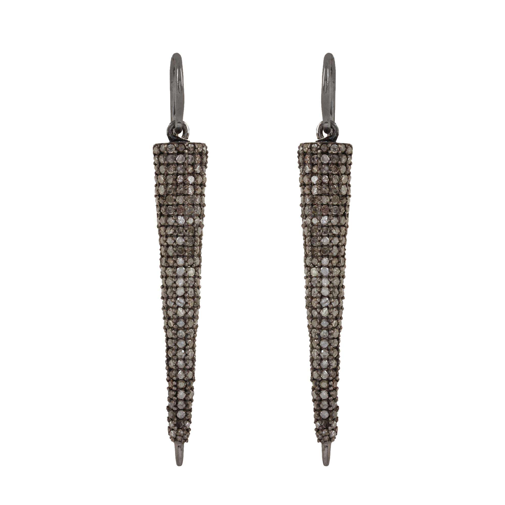 925 strling silver 6.19ct natural diamond hook earrings