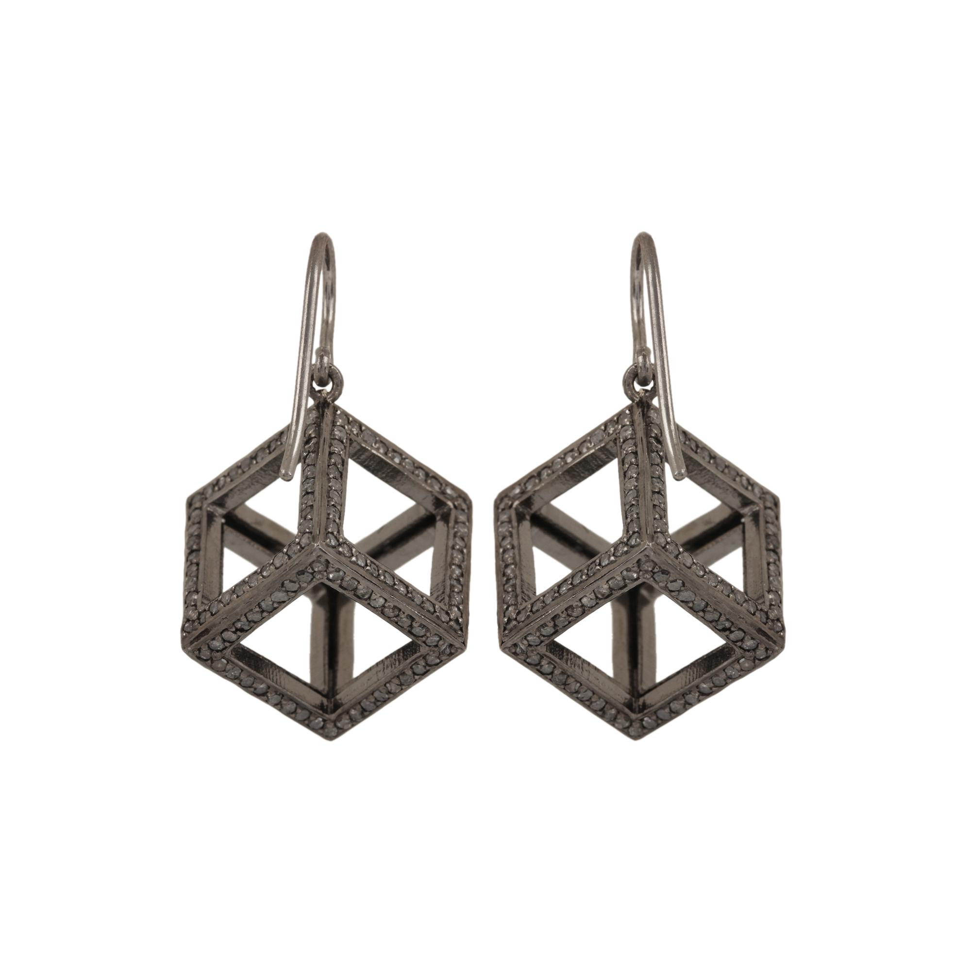 Beautiful hook earrings 4.29ct diamond made in 925 sterling silver fine jewelry