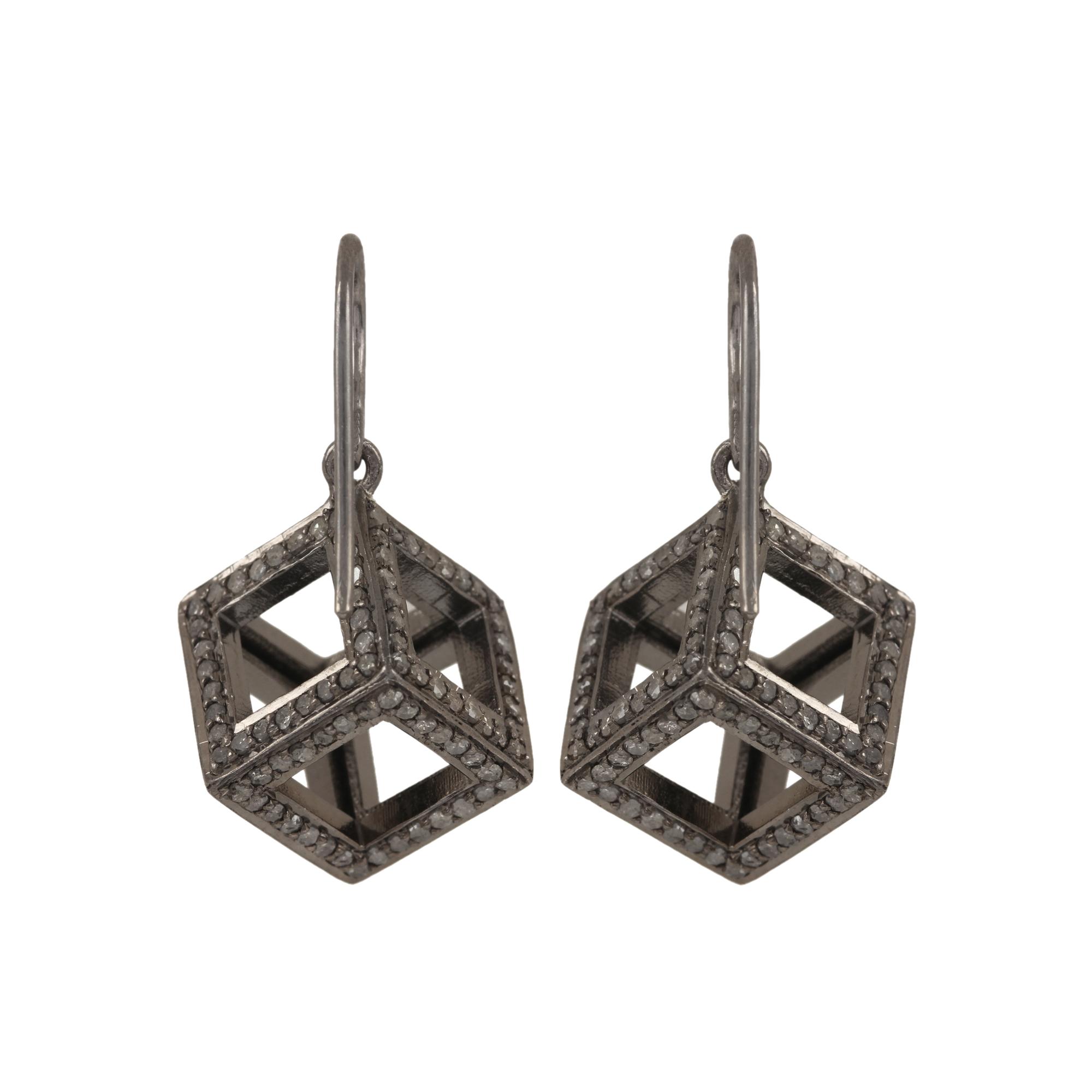 925 strling silver 3.36ct natural diamond hook earrings