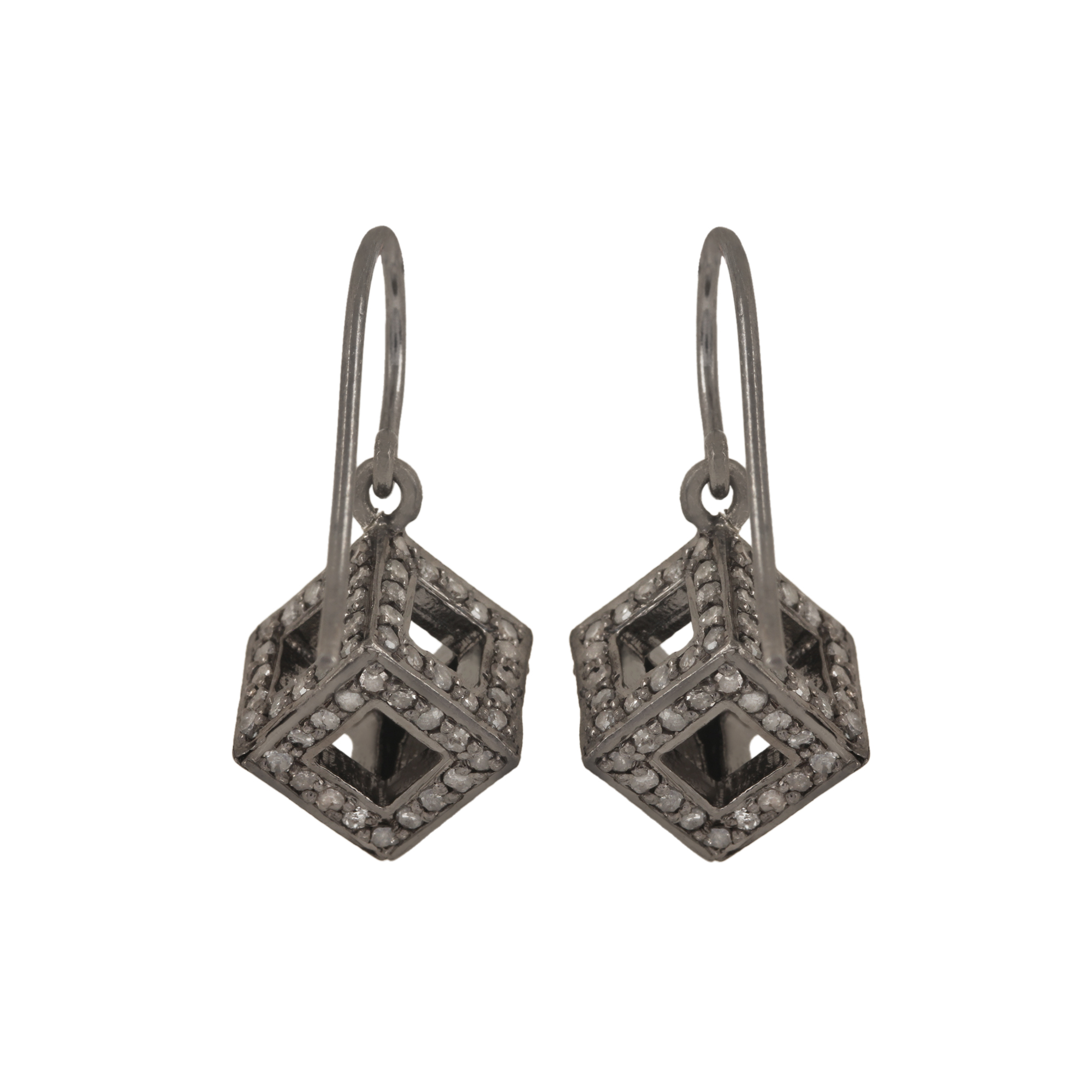 Natural Diamond hook earrings made in 925 sterling silver Jewelry