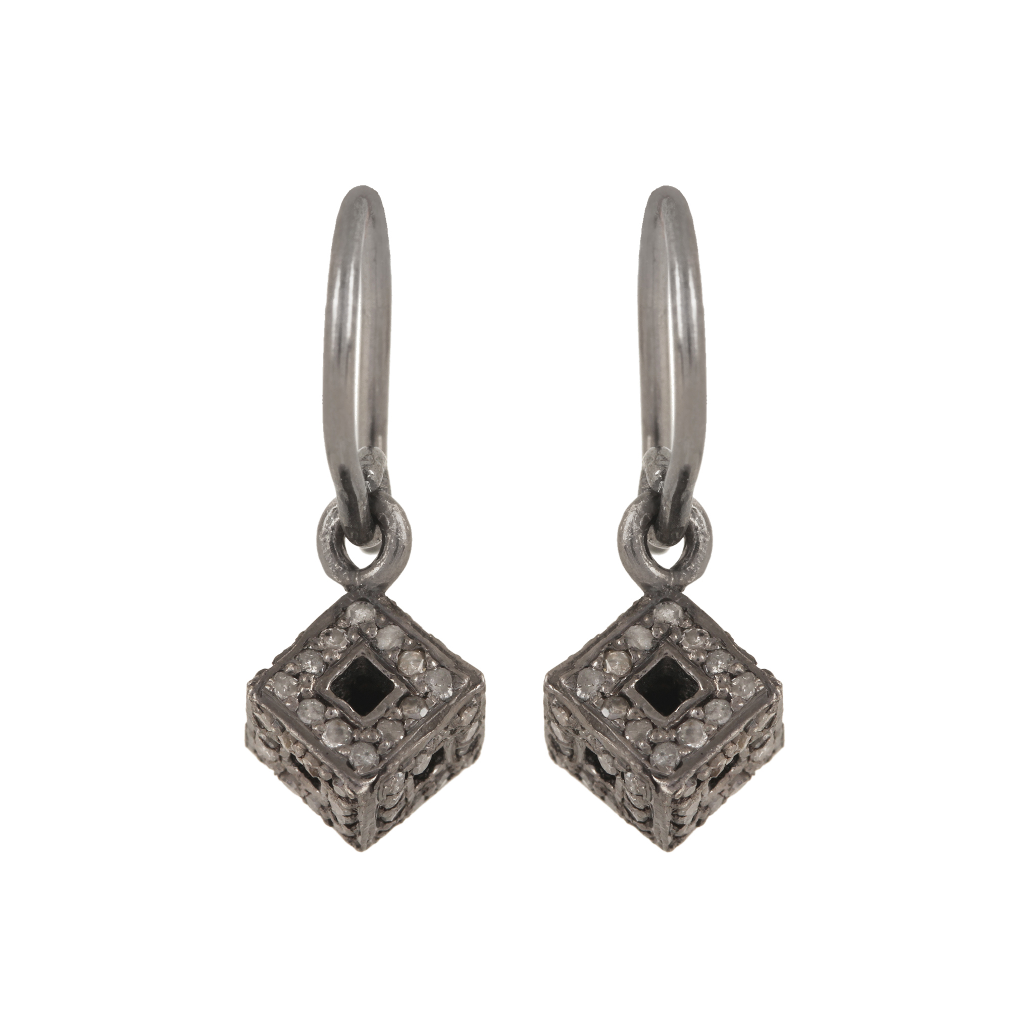 Natural diamond hook earrings made in 925 strling silver jewelry