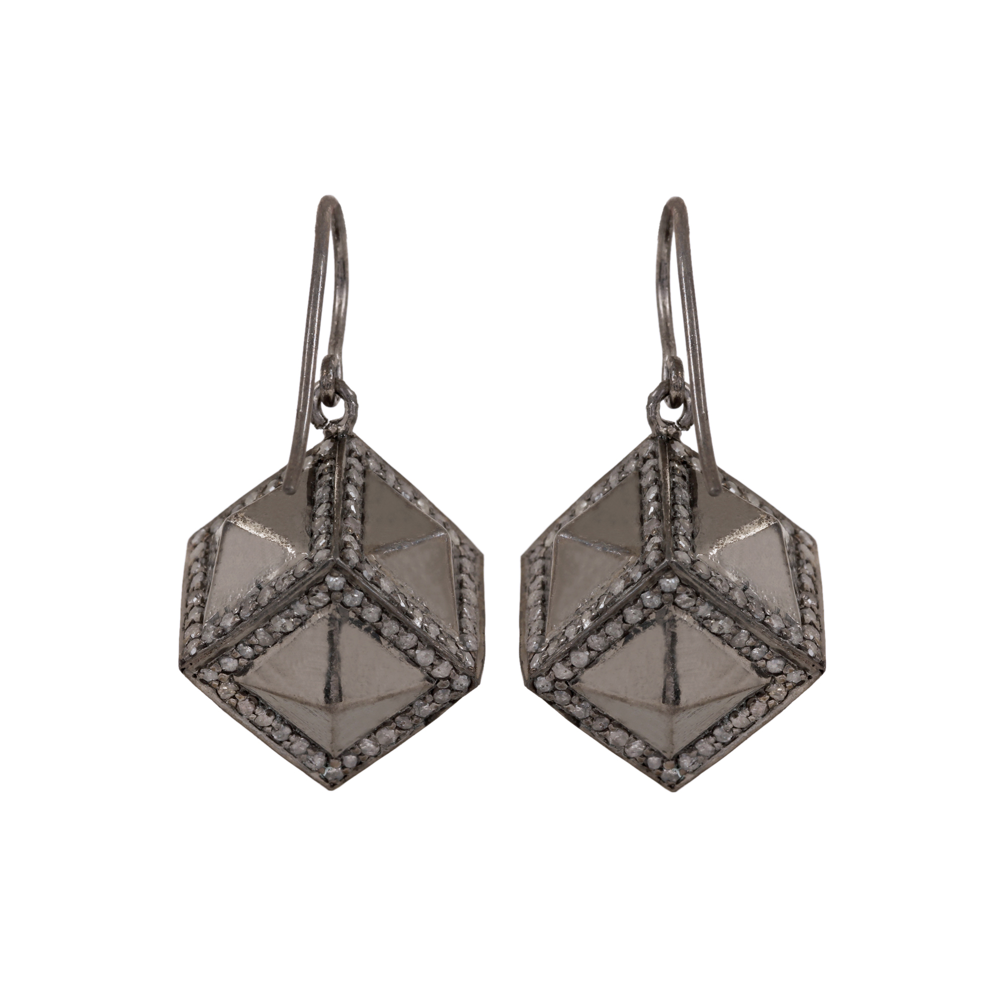 3.35ct natural diamond 925 sterling silver hook earrings