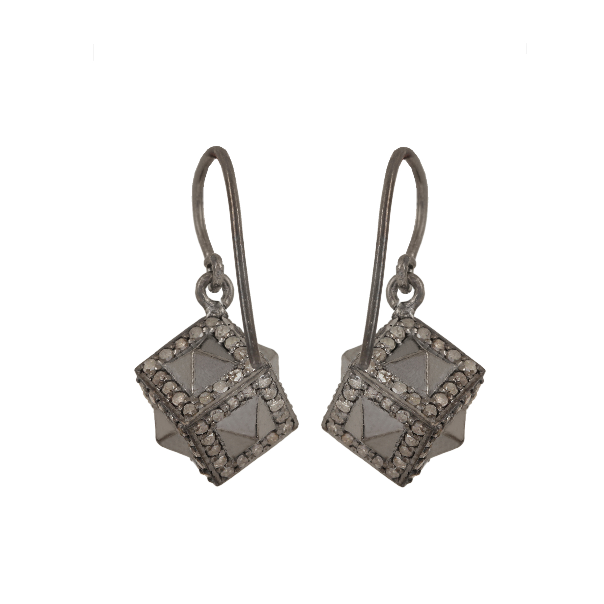 925 sterling silver hook earrings adorned with 2.01ct natural diamond