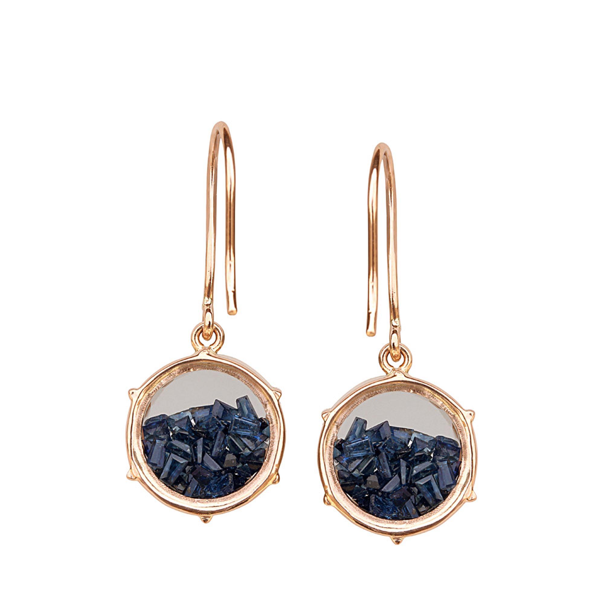 18k solid gold crystal loose sapphire hook earrings fine jewelry