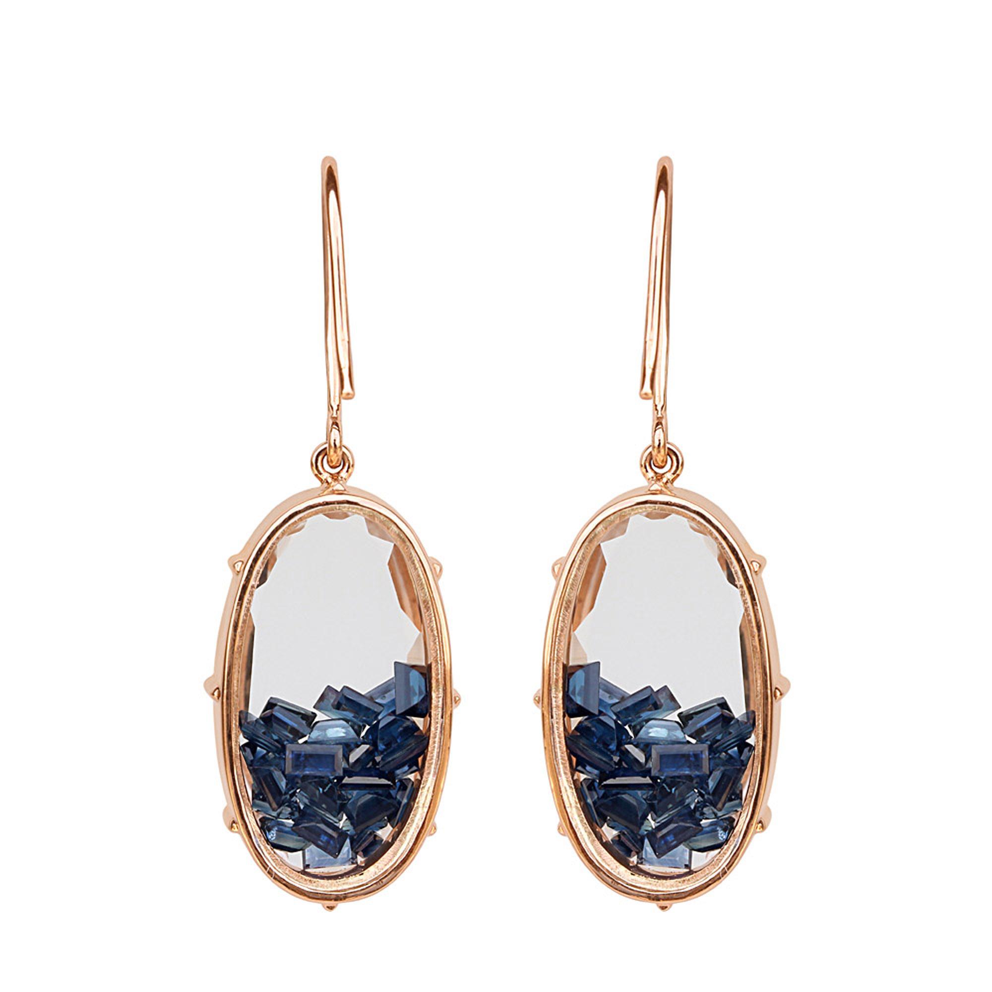 18k gold loose sapphire crystal shaker hook earrings