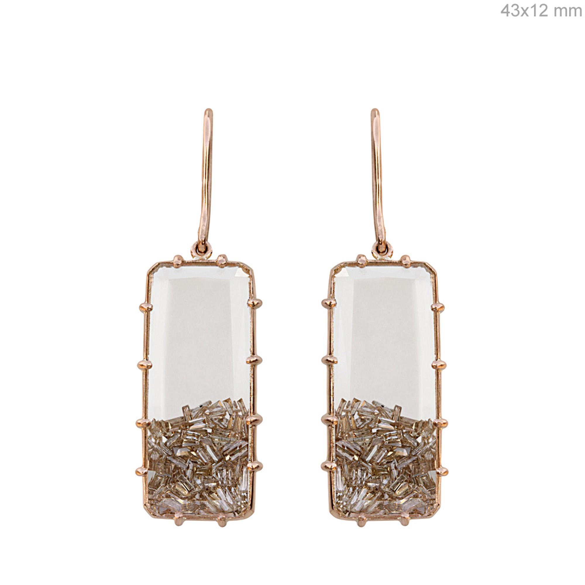 Real diamond 18k solid gold crystal hook shaker earrings
