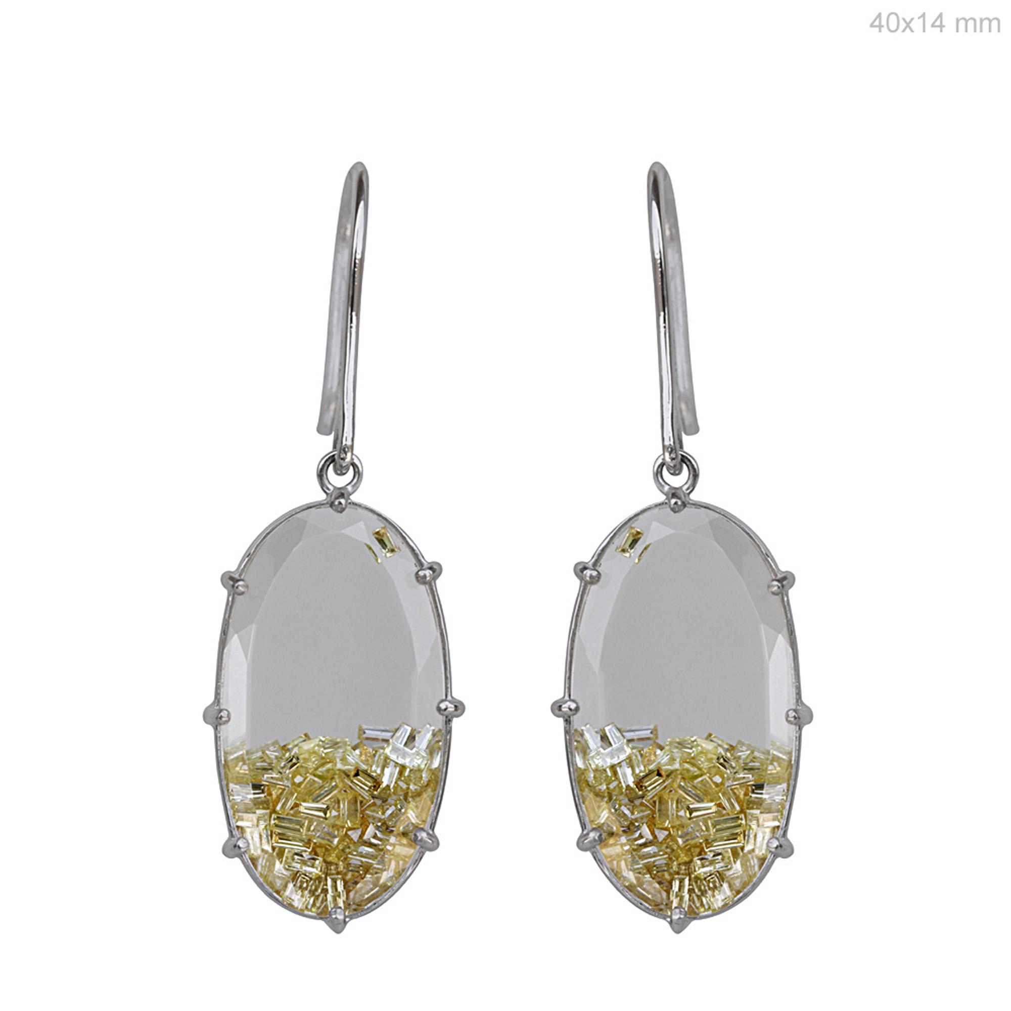 Baguette diamond 18k gold crystal hook shaker earrings