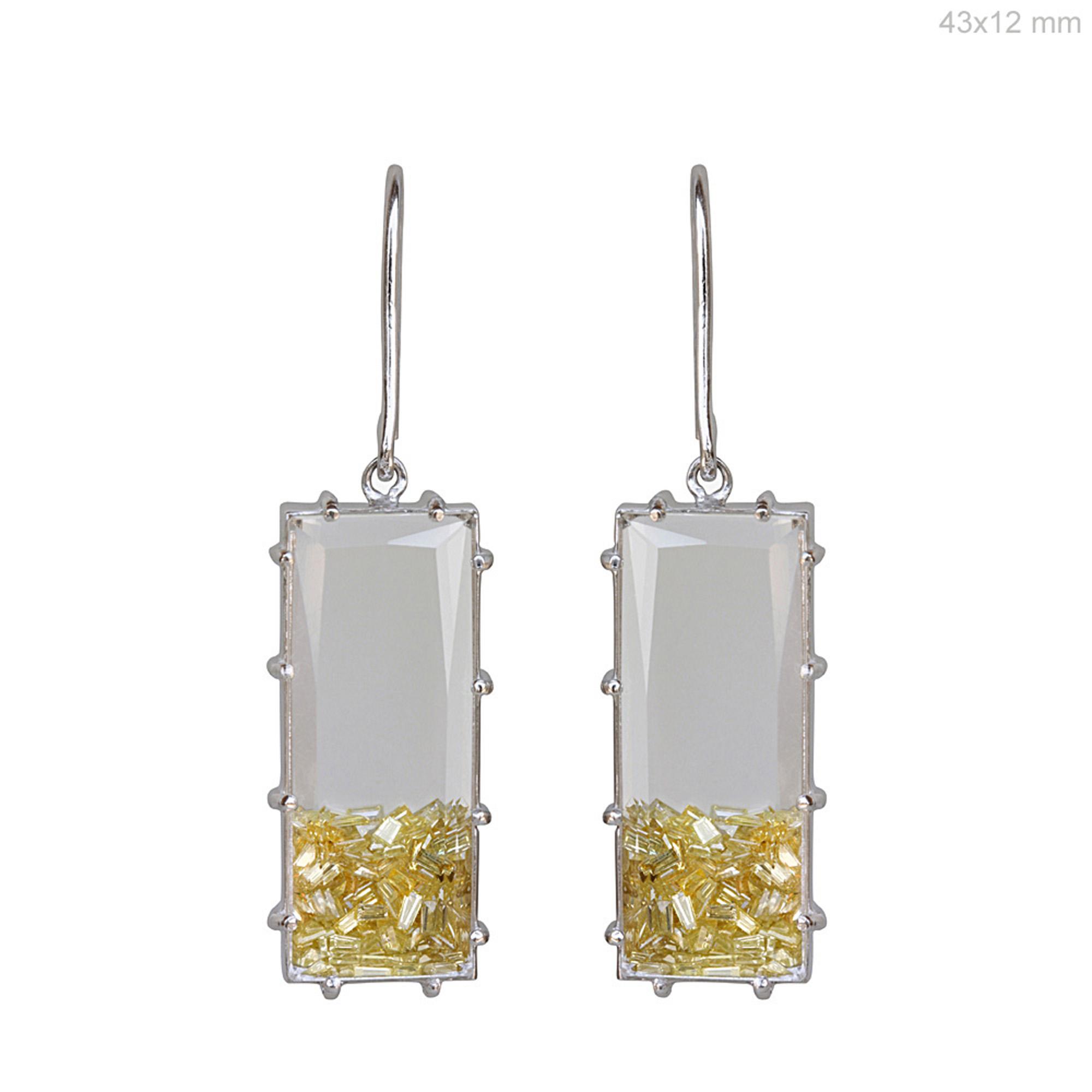 18k gold real diamond crystal dangle hook shaker earrings