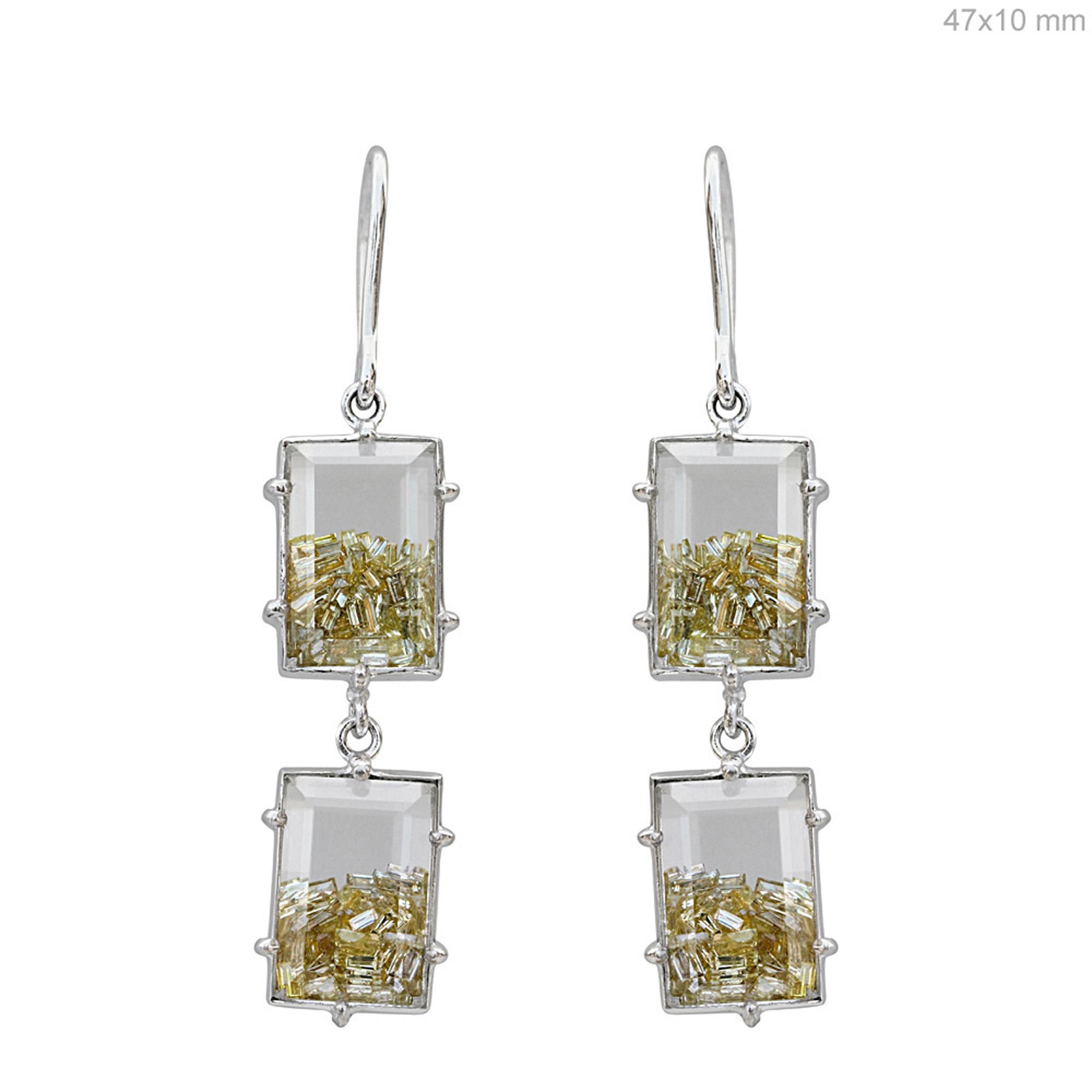 18k gold diamond crystal dangle hook shaker earrings
