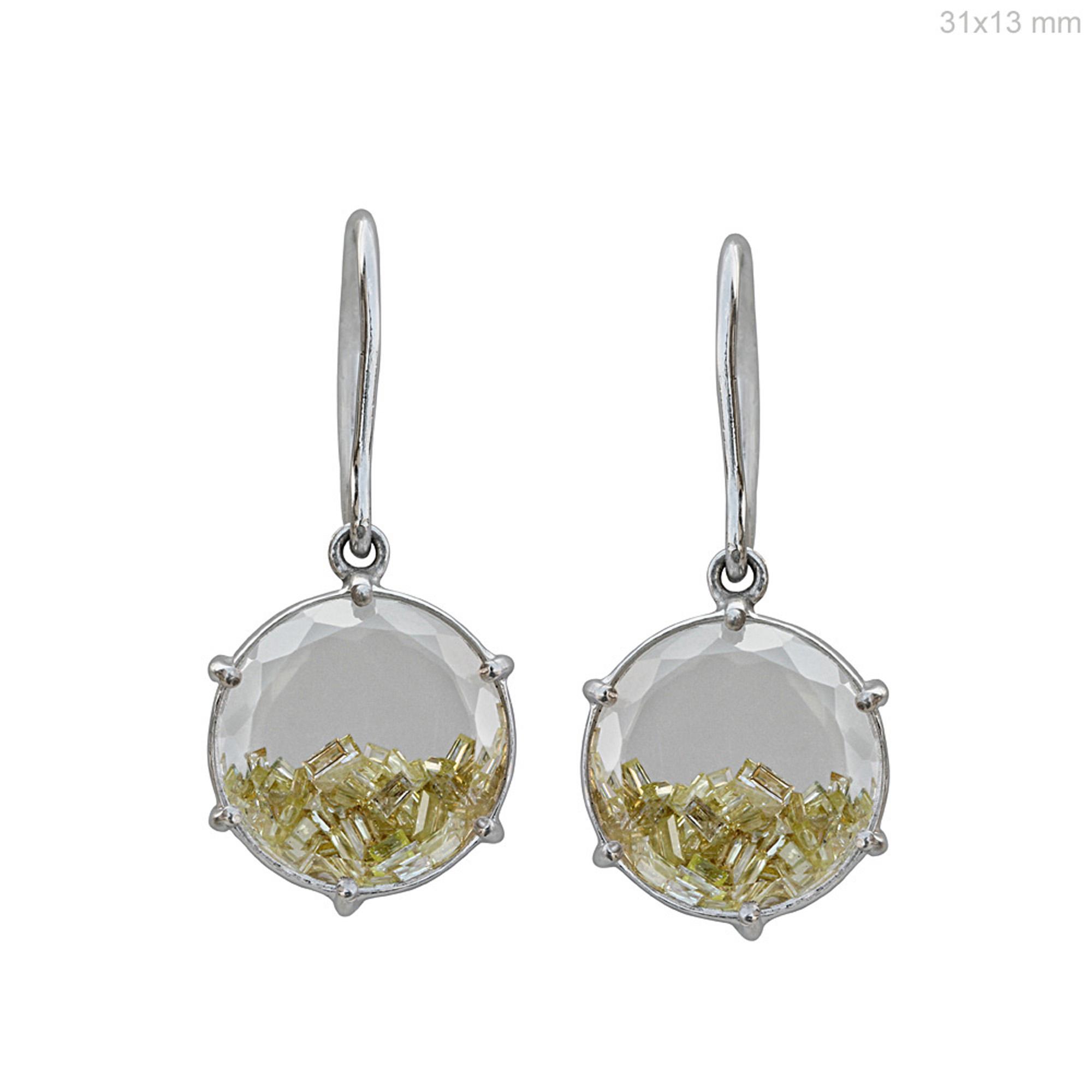 Baguette diamond18 gold crystal hook drop shaker earrings