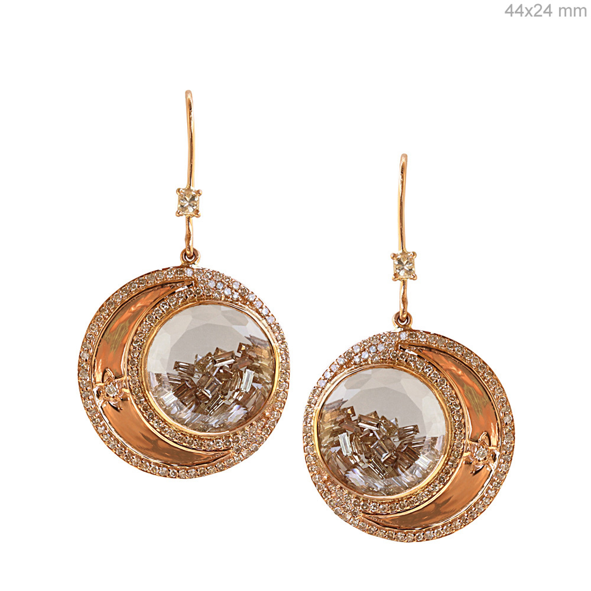 Natural diamond 18k gold crystal moon hook shaker earrings