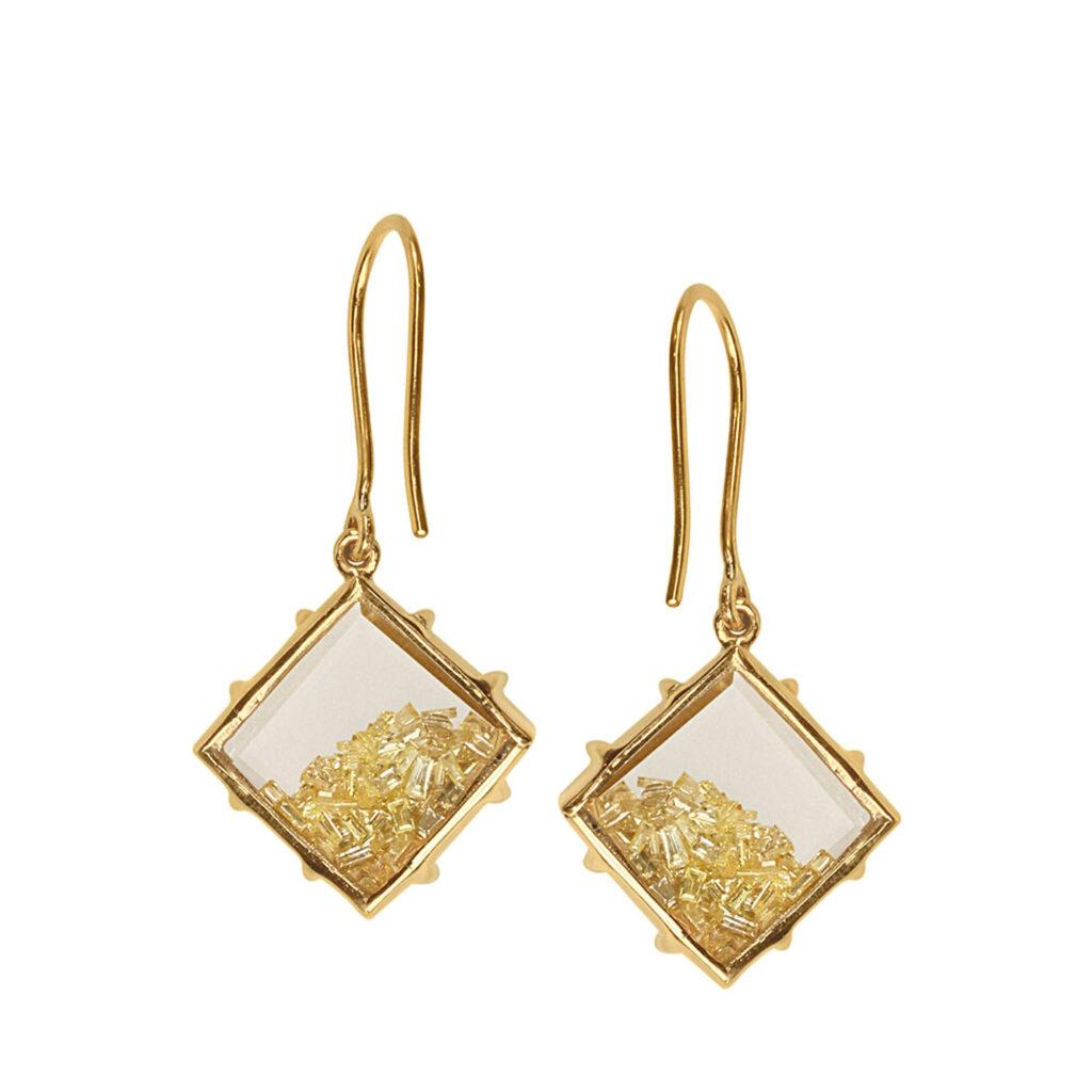 Natural diamond crystal shaker hook earrings made in 18k gold fine jewelry