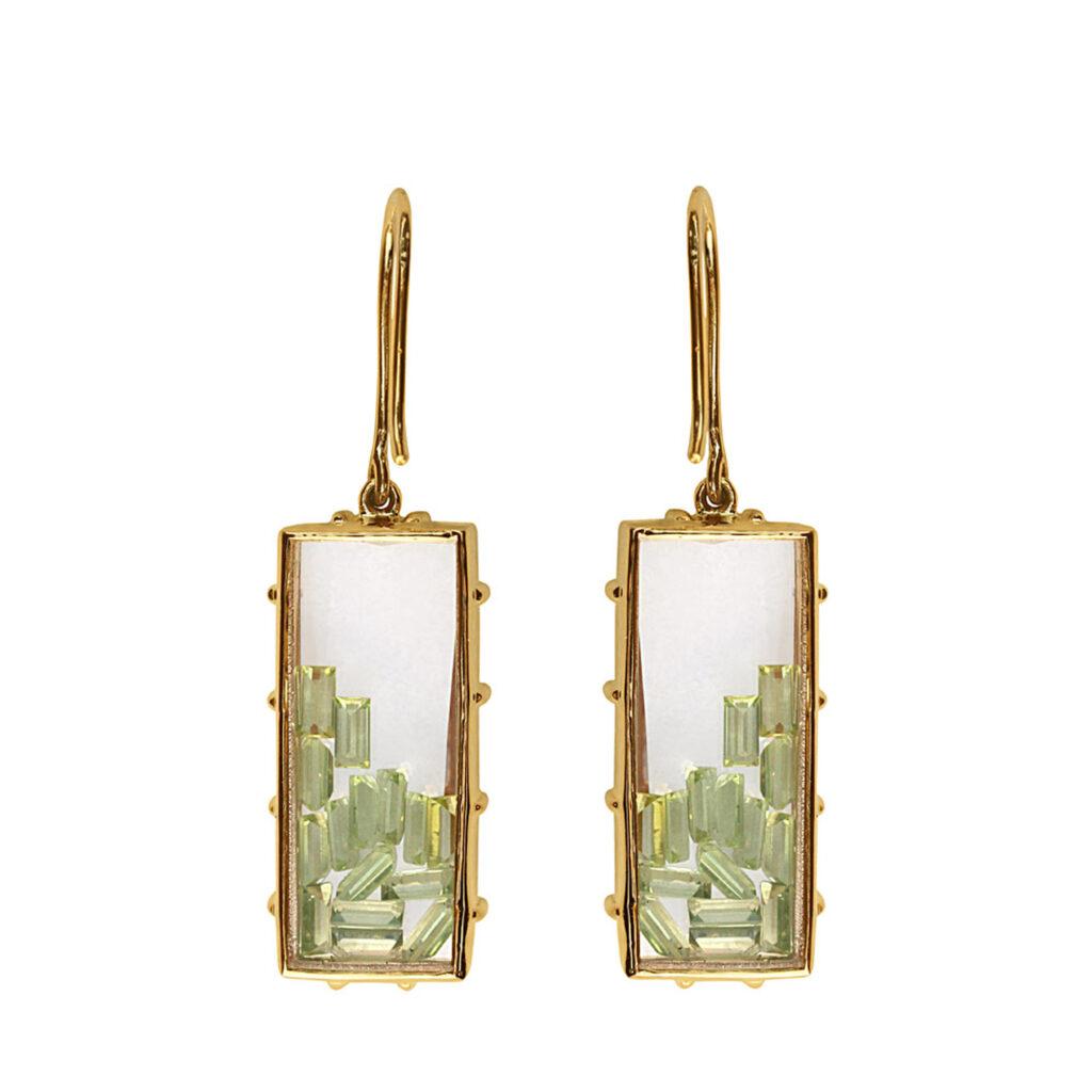 Solid 18k gold crystal quartz shaker hook earrings