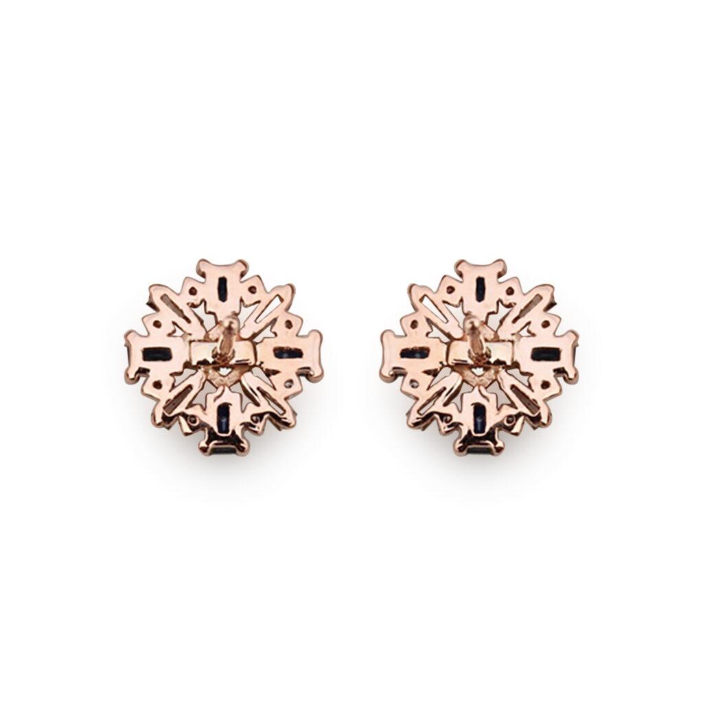 18K Solid Gold Blue Sapphire Gemstone Stud Earrings Natural Diamond Jewelry