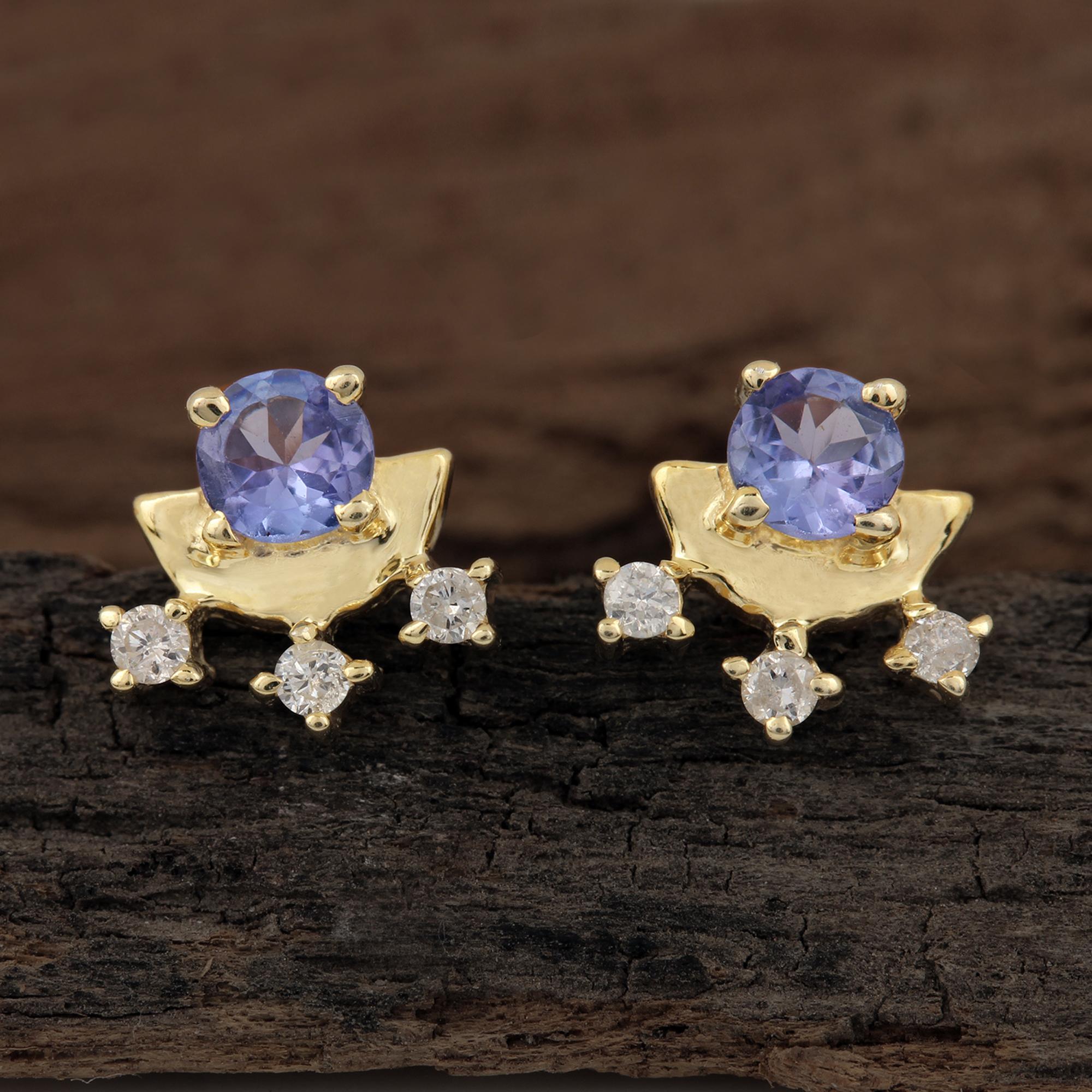Diamond Tanzanite 14k Solid Gold Minimalist Stud Earrings