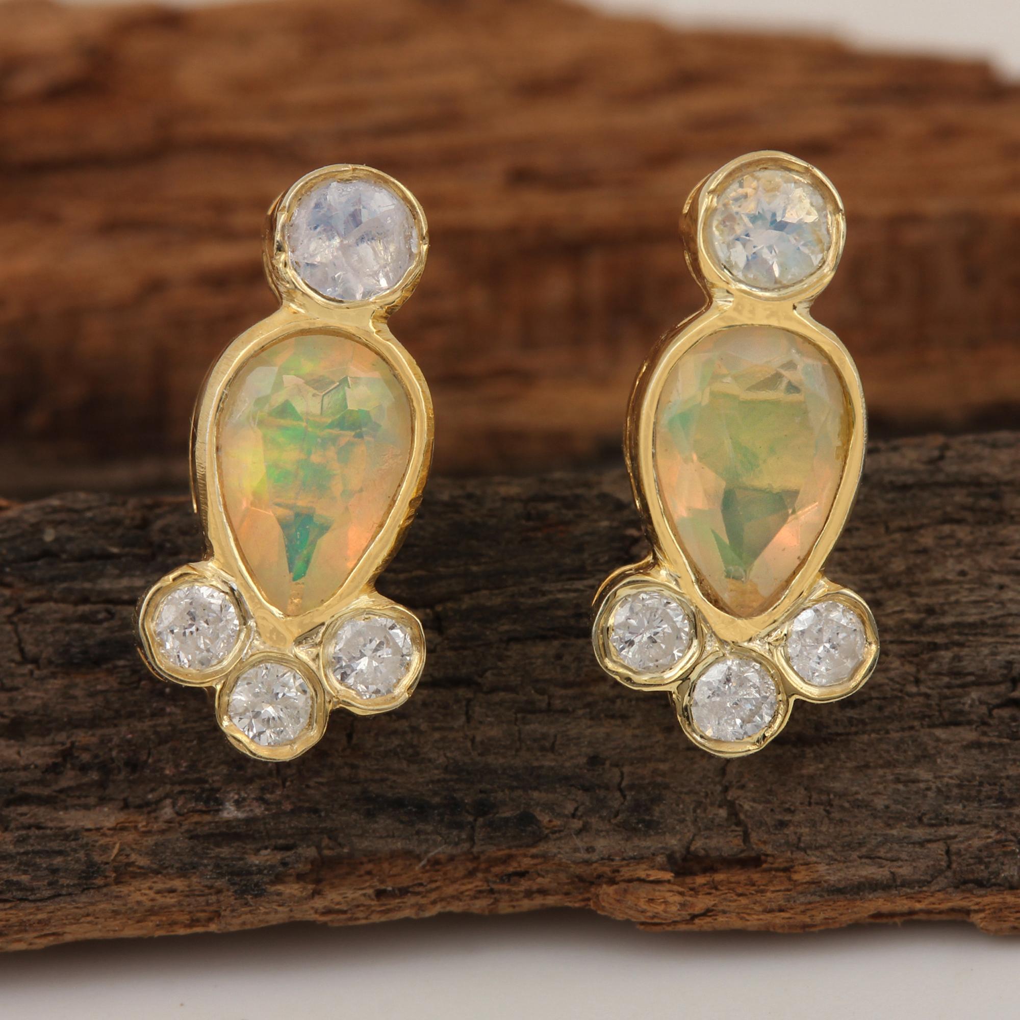 Genuine Diamond 14k Solid Gold Opal & Rainbow Moonstone Stud Earrings