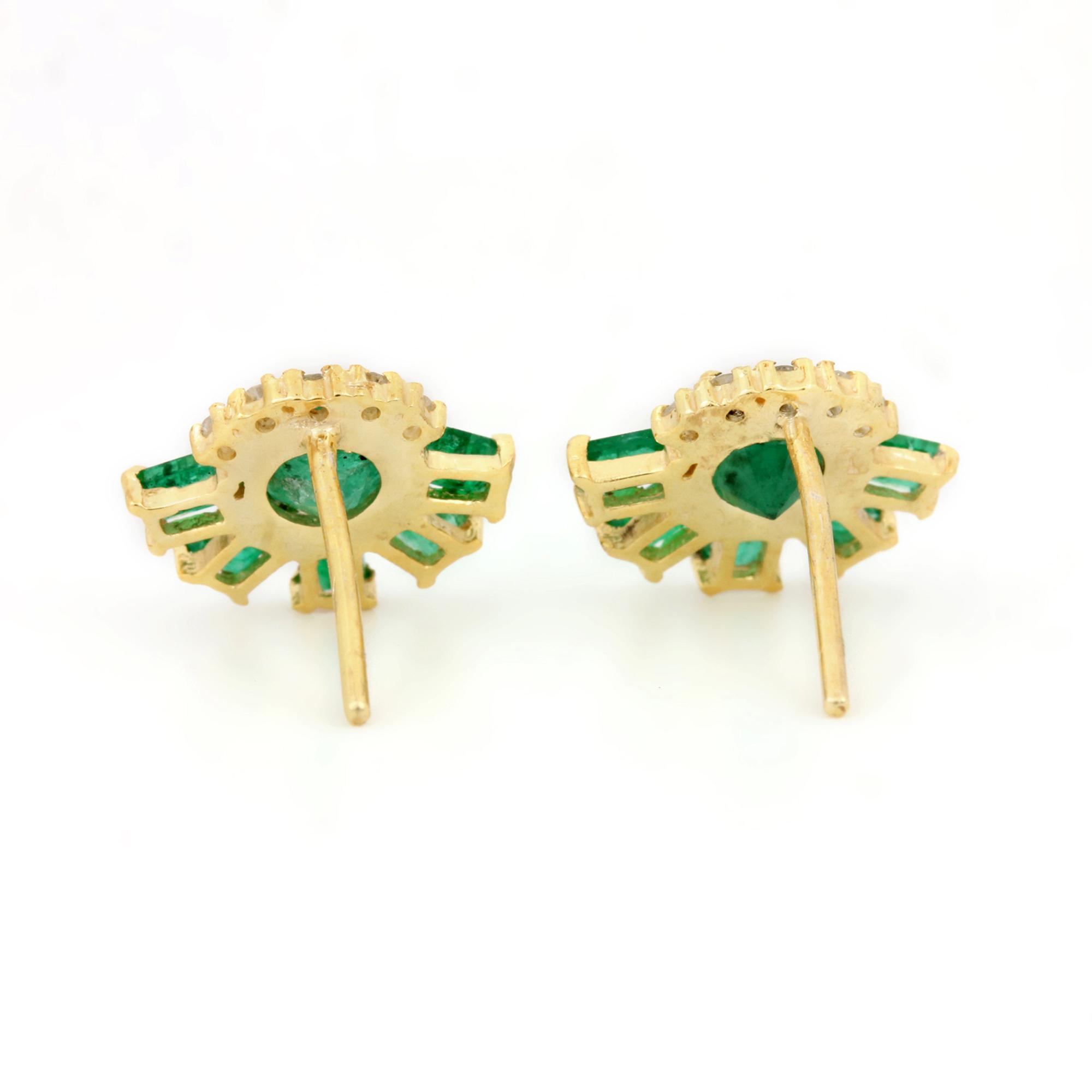 Genuine Diamond 14k Solid Gold Emerald Floral Stud Earrings