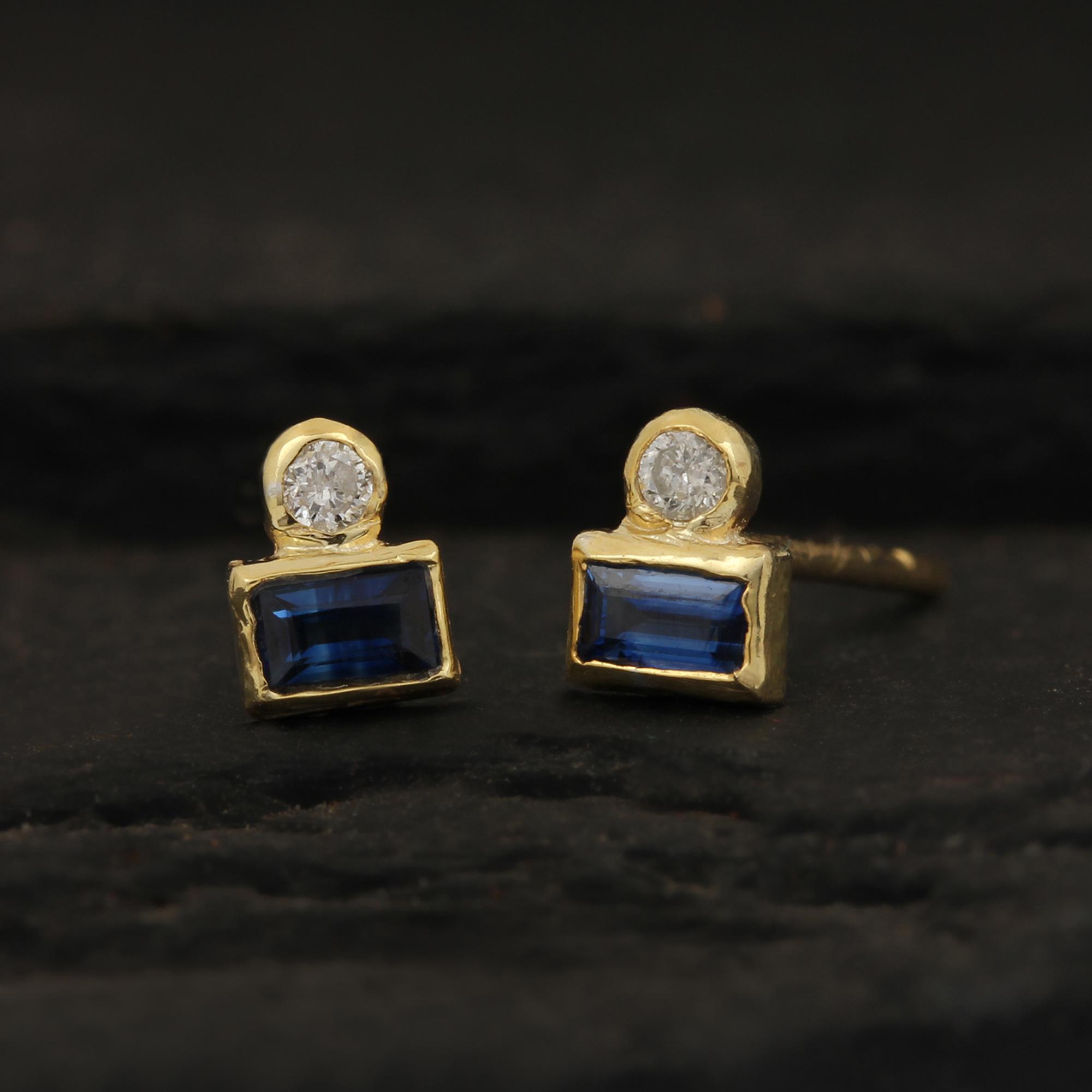 Diamond Blue Sapphire 14k Solid Gold Stud Earrings