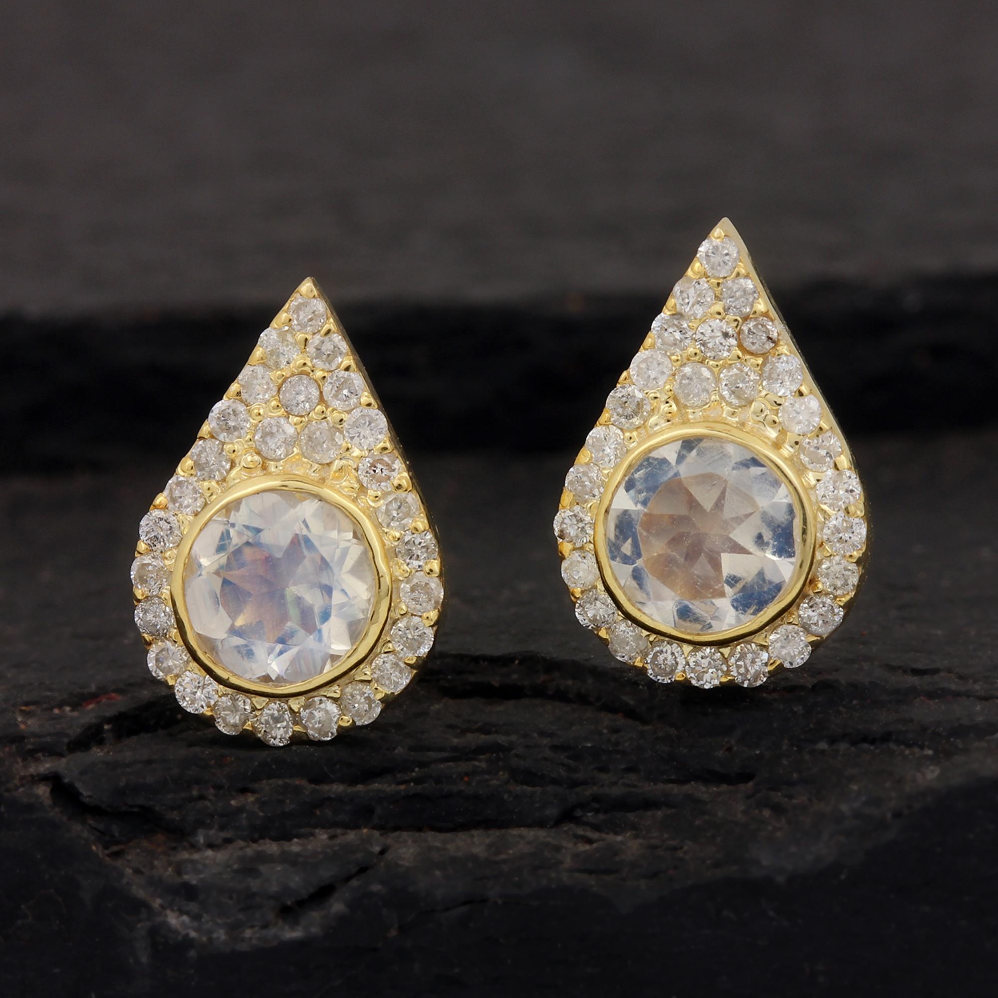 Natural Diamond Rainbow Moonstone Solid 14k Gold Stud Earrings
