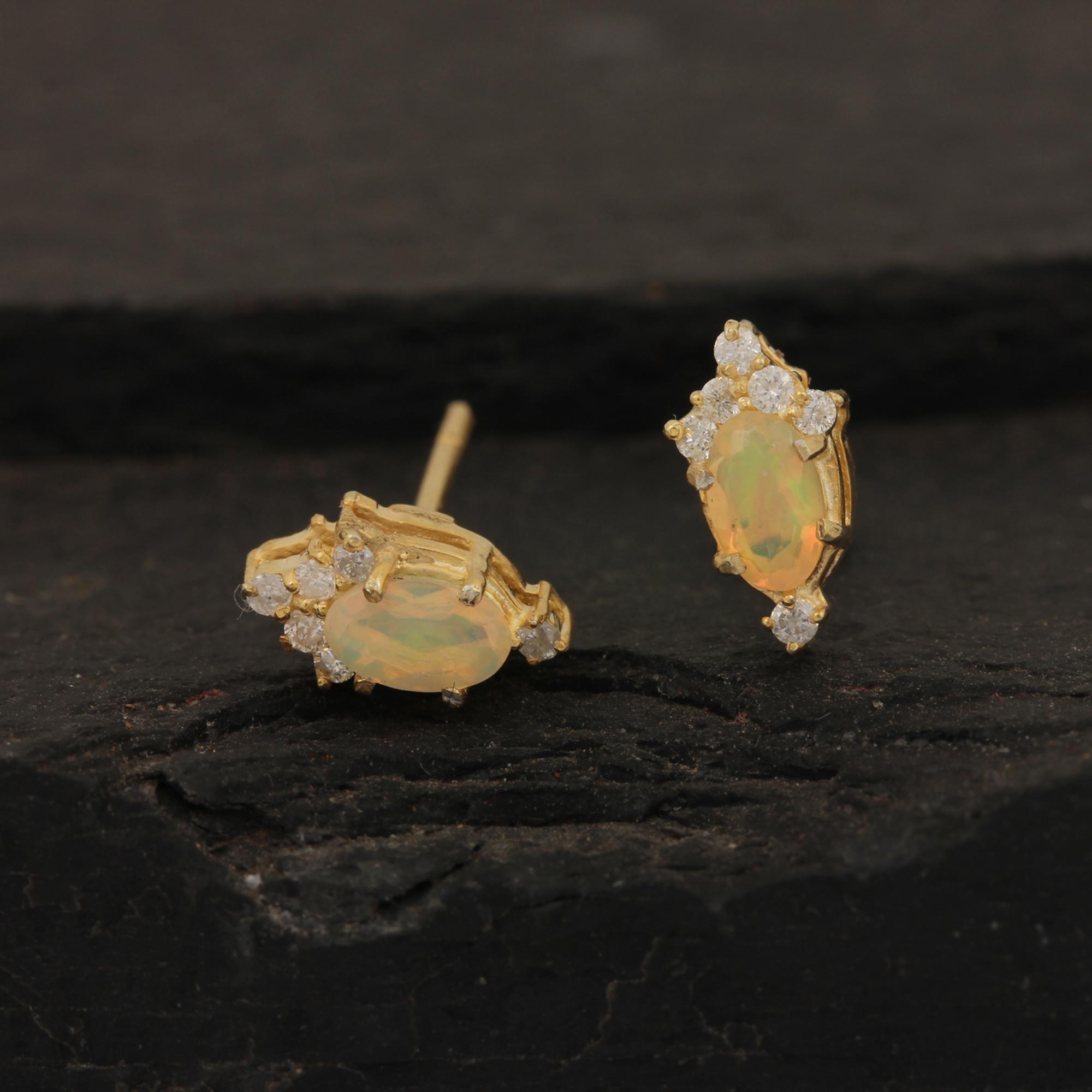 Natural Opal 14k Solid Gold Diamond Stud Earrings