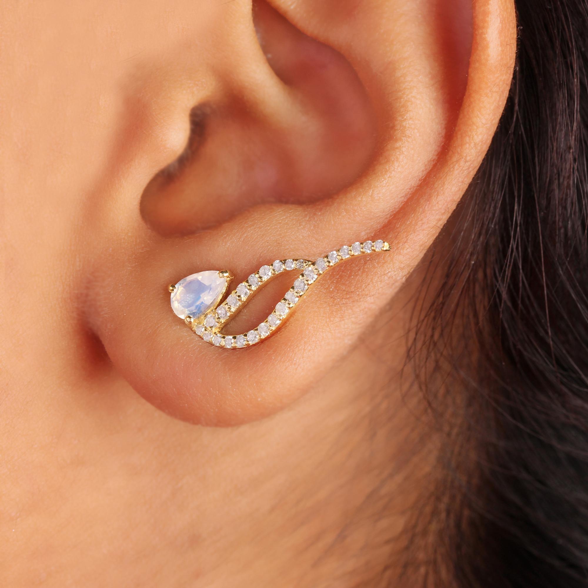 Natural Diamond 14k Solid Gold Rainbow Moonstone Stud Earrings