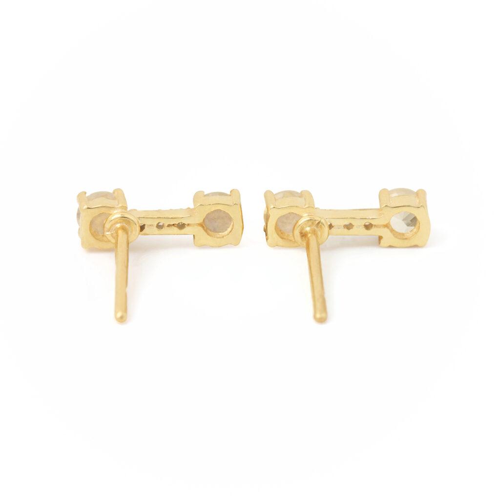 Natural Diamond Rainbow Moonstone 14k Solid Gold Stud Earrings
