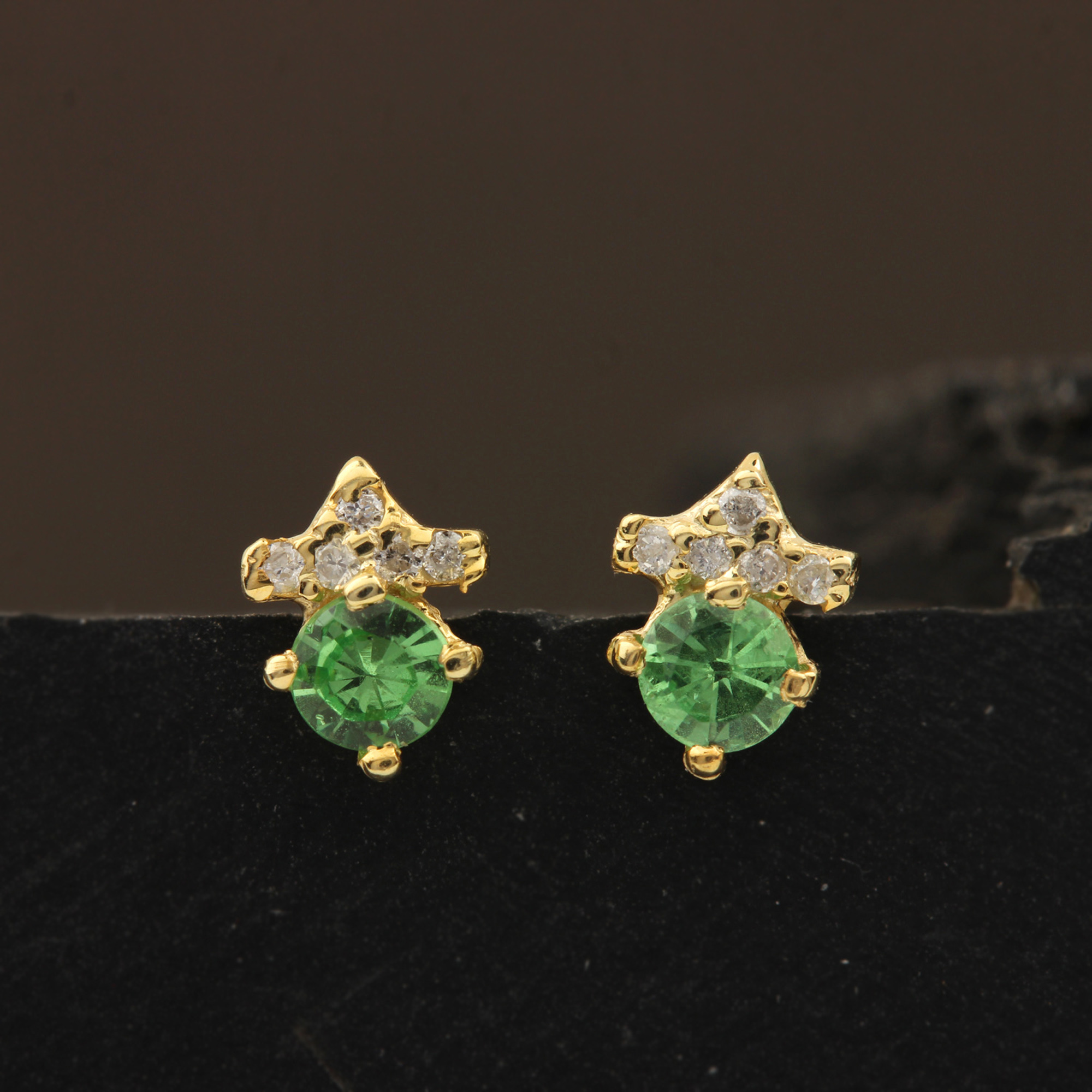 Natural Diamond & Tsavorite 14k Solid Gold Solitaire Stud Earrings