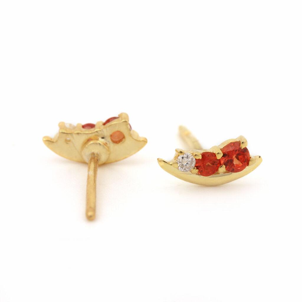 14k Gold Stud Earrings Adorned With Diamond & Orange Sapphire