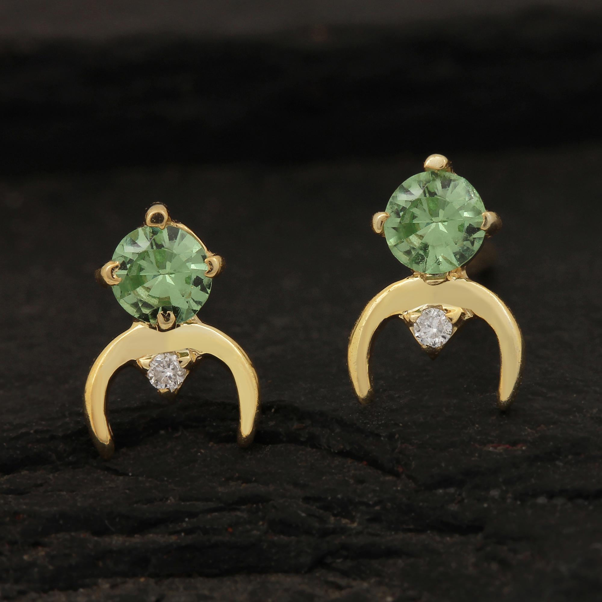 Natural Diamond 14k Solid Gold Tsavorite Solitaire Stud Earrings