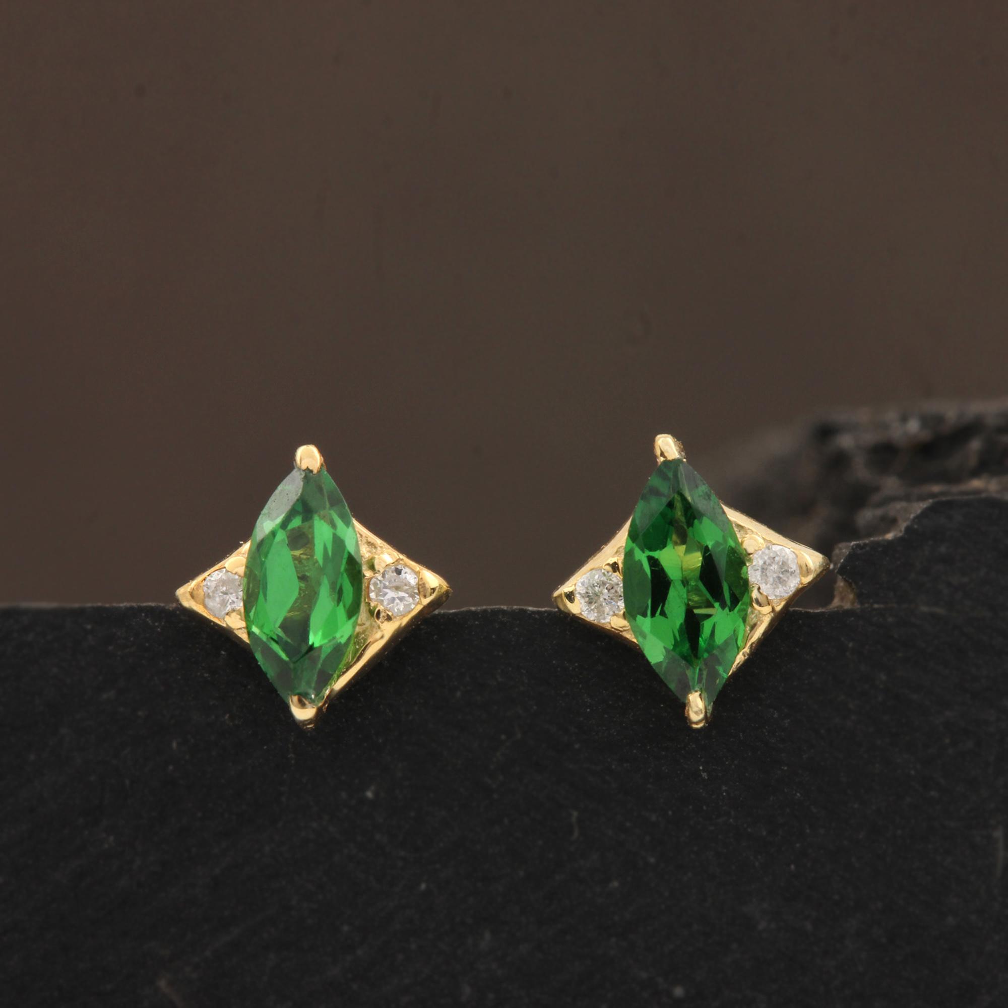 Natural Diamond & 0.28ct Tsavorite 14k Solid Gold Solitaire Stud Earrings