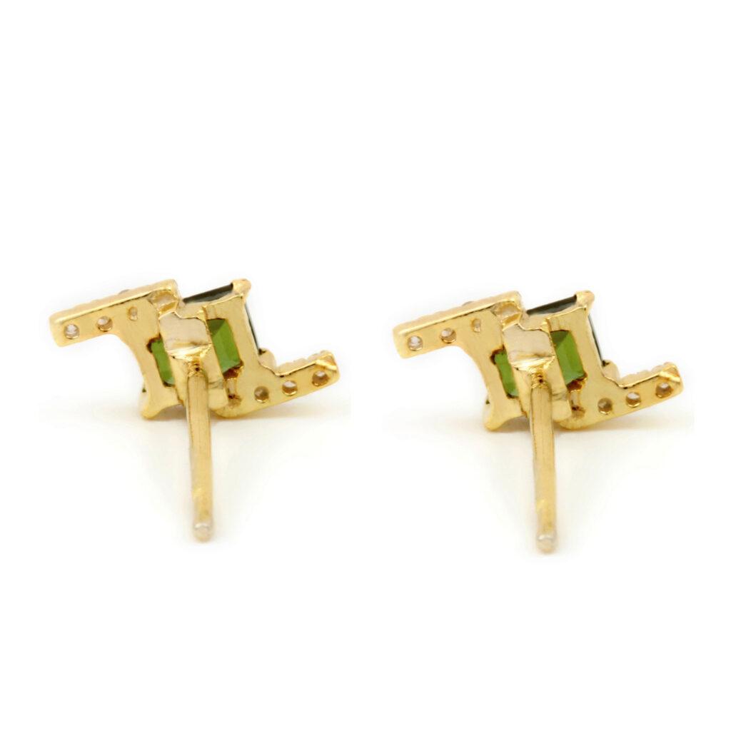 Natural Diamond & Tourmaline 14k Solid Gold Minimalist Stud Earrings