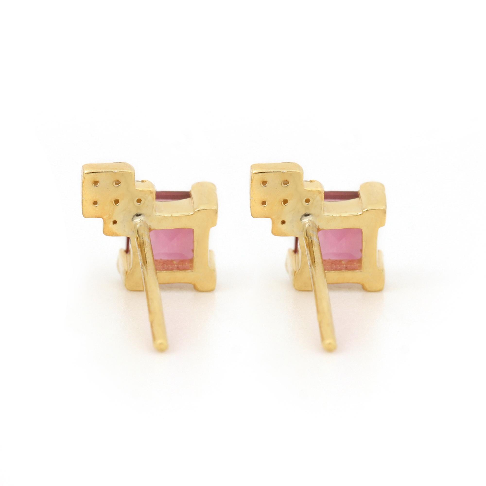 14k Solid Gold Diamond & Pink Tourmaline Solitaire Stud Earrings Fine Jewelry