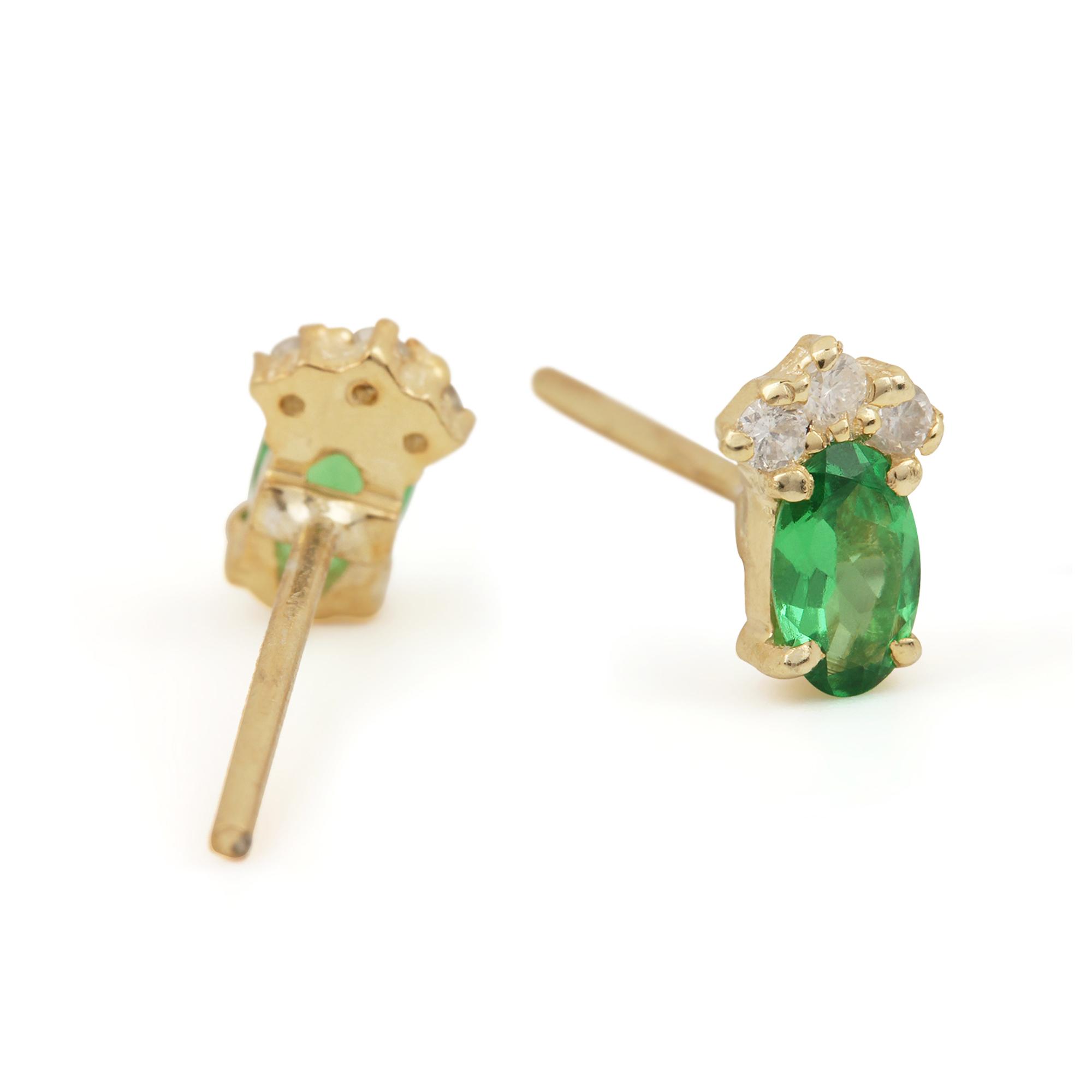 14k Solid Gold Diamond & Tsavorite Gemstone Solitaire Stud Earrings Handmade Jewelry