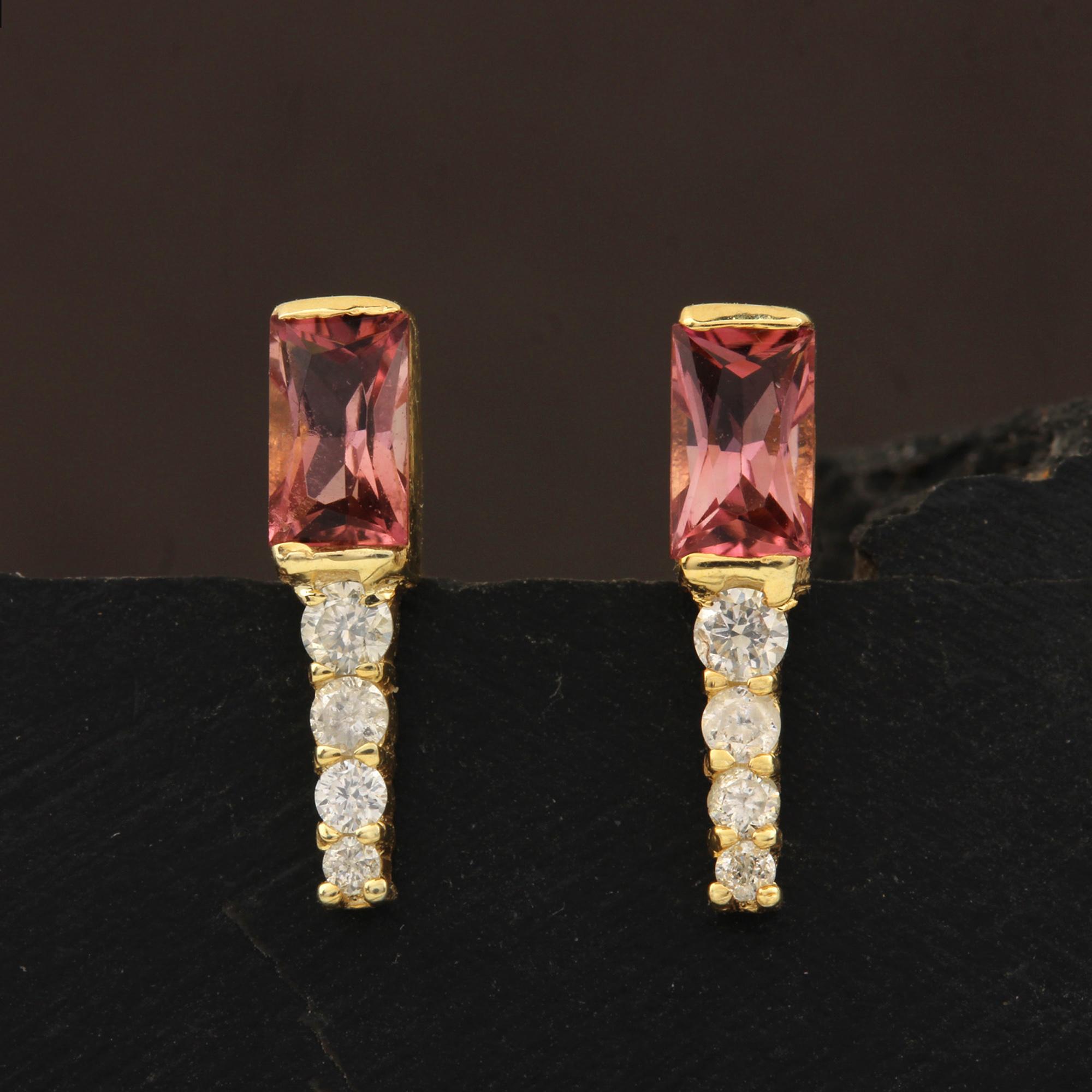 Natural Diamond 14k Gold Tourmaline Minimalist Stud Earrings