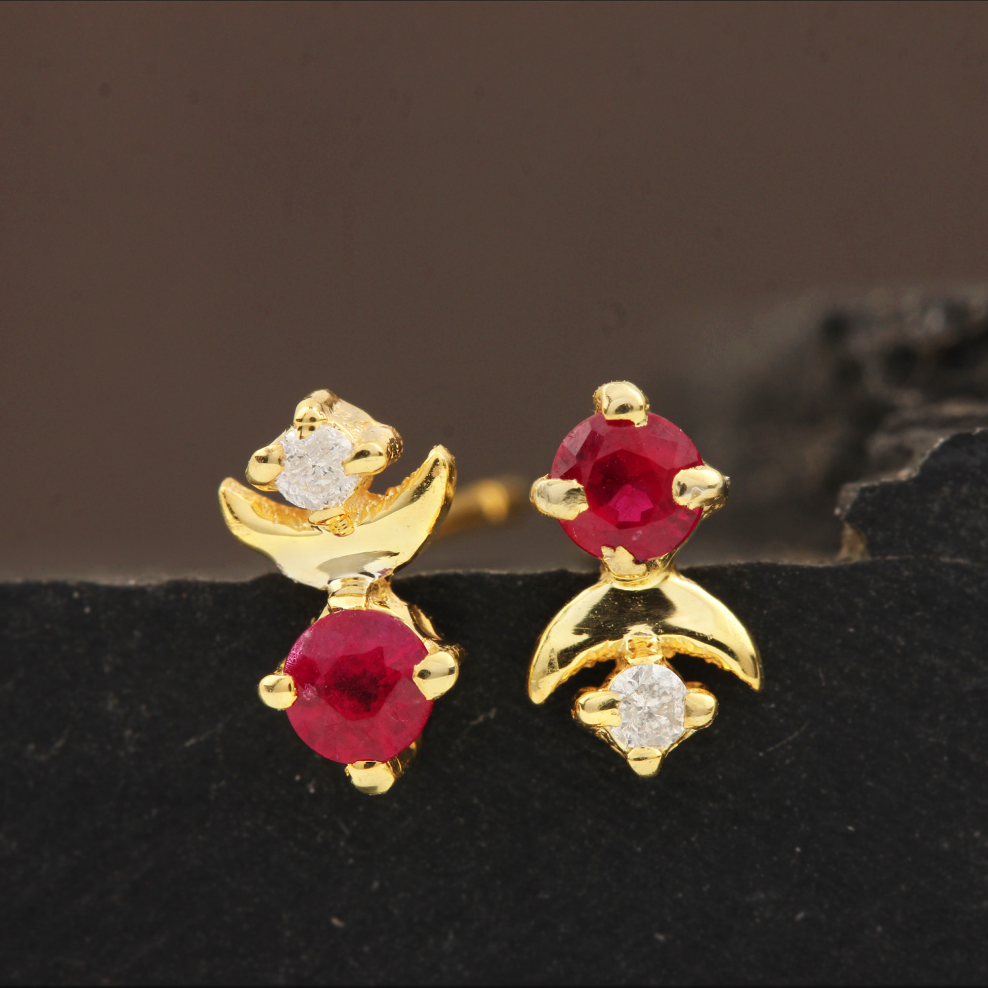 Natural Diamond 14k Solid Gold Ruby Minimalist Stud Earrings