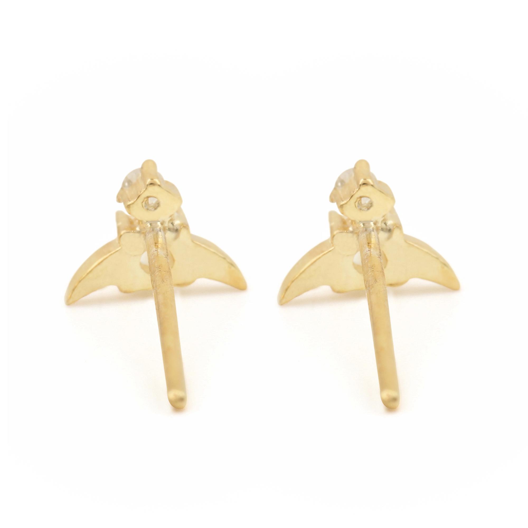 Natural Diamond 14k Solid Gold Rainbow Moonstone Minimalist Stud Earrings