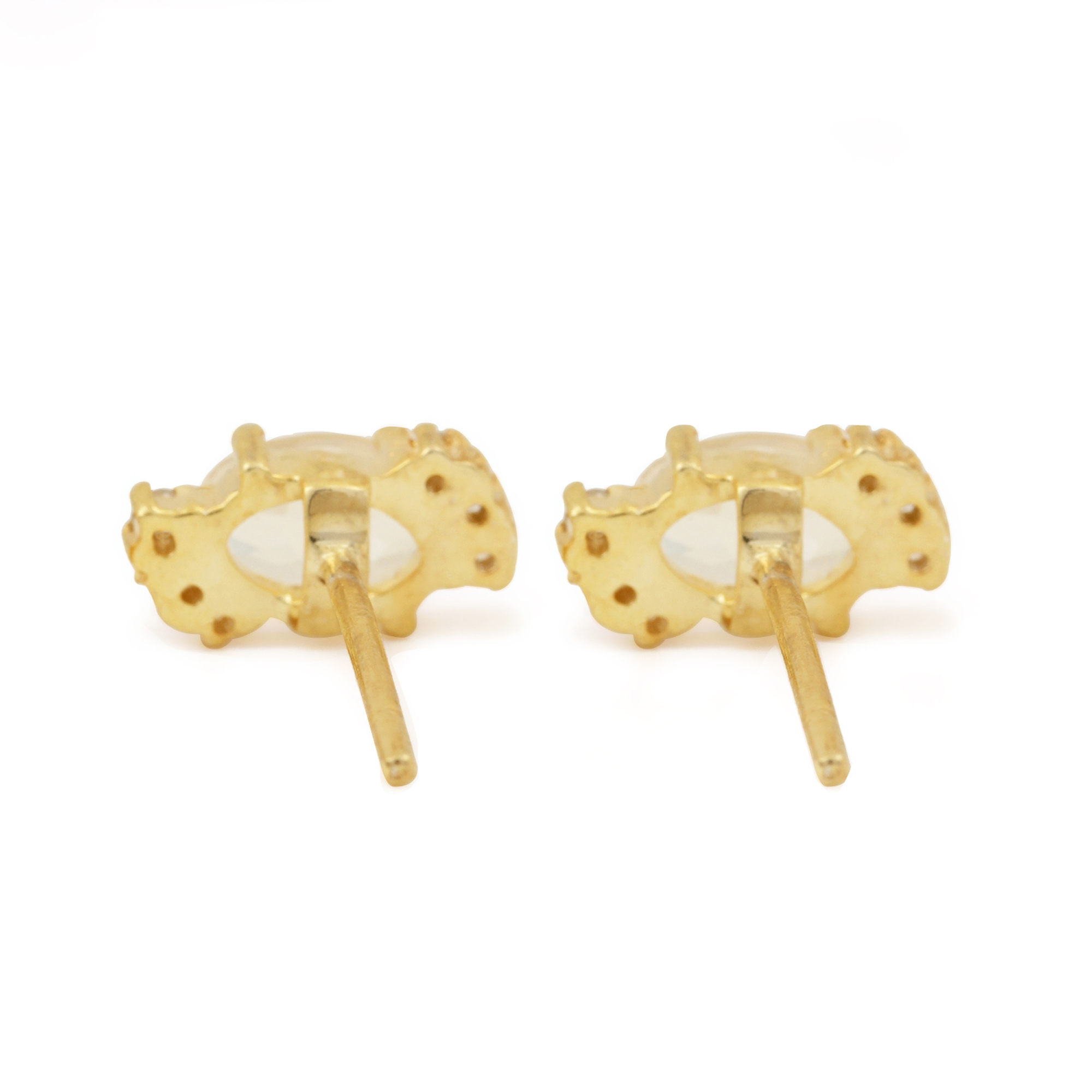 Solid 14k Gold Diamond & Natural 0.85ct Moonstone Solitaire Stud Earrings