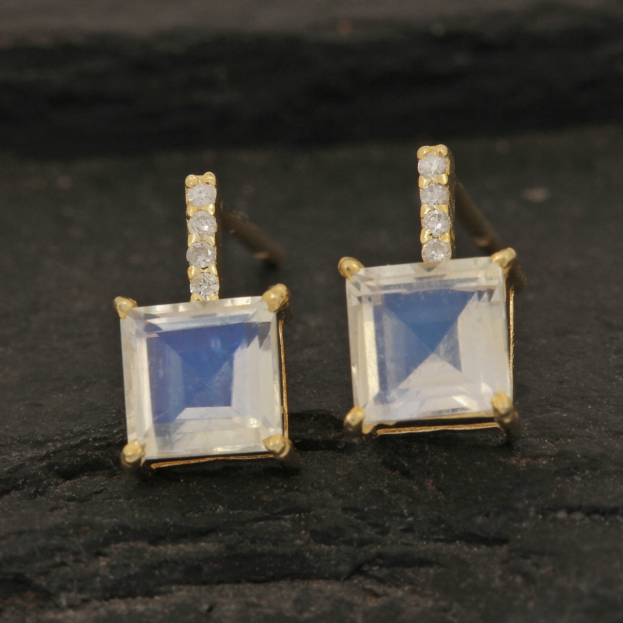 Natural Diamond & Rainbow Moonstone Stud Earrings 14k Solid Gold Jewelry