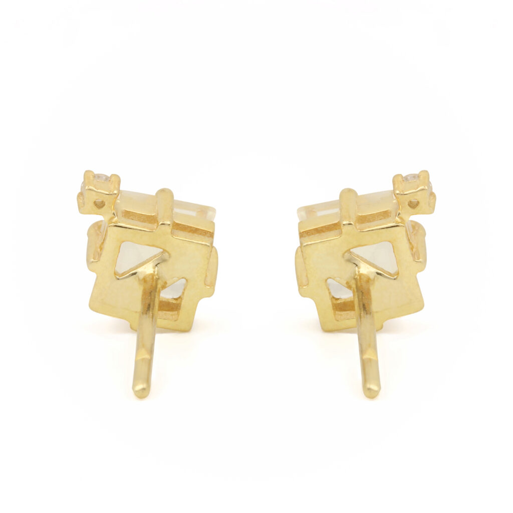 Natural Diamond & Moonstone Solitaire Stud Earrings Set In 14k Solid Gold