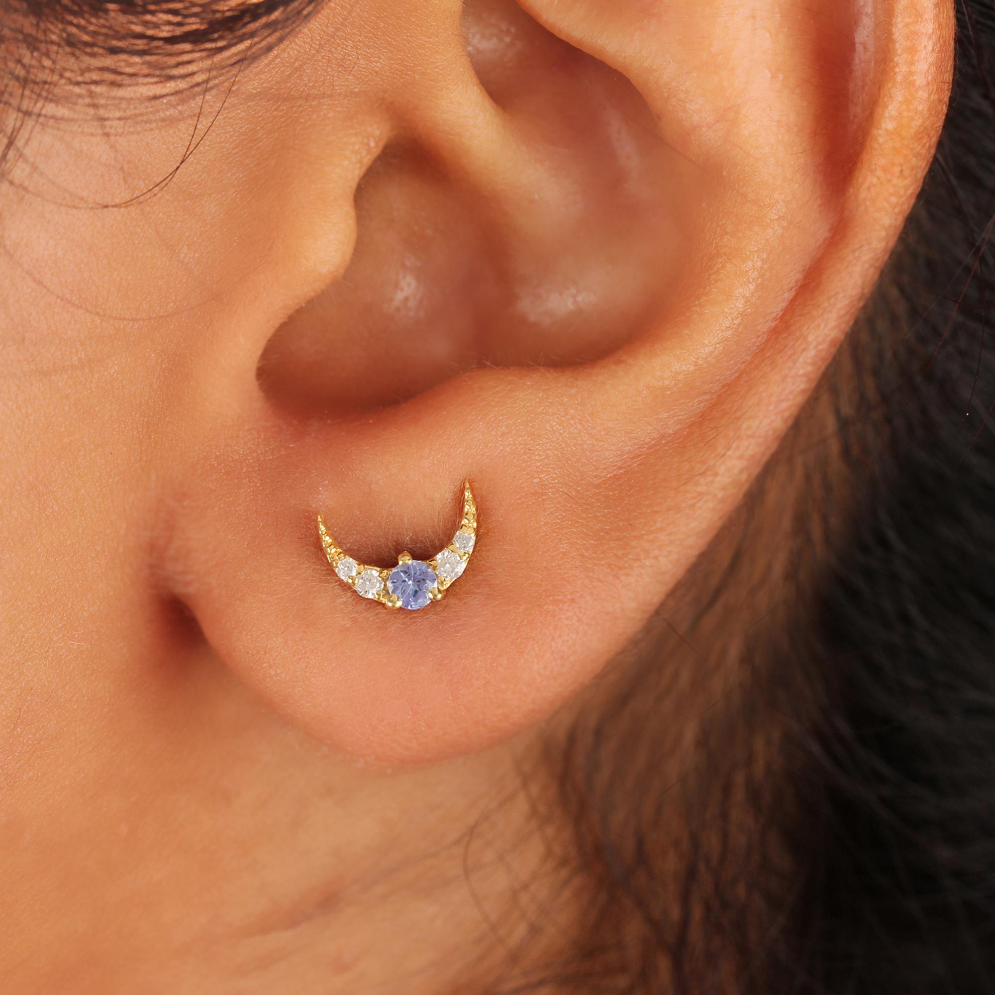 14k Solid Gold Diamond & Natural Tanzanite Minimalist Stud Earrings
