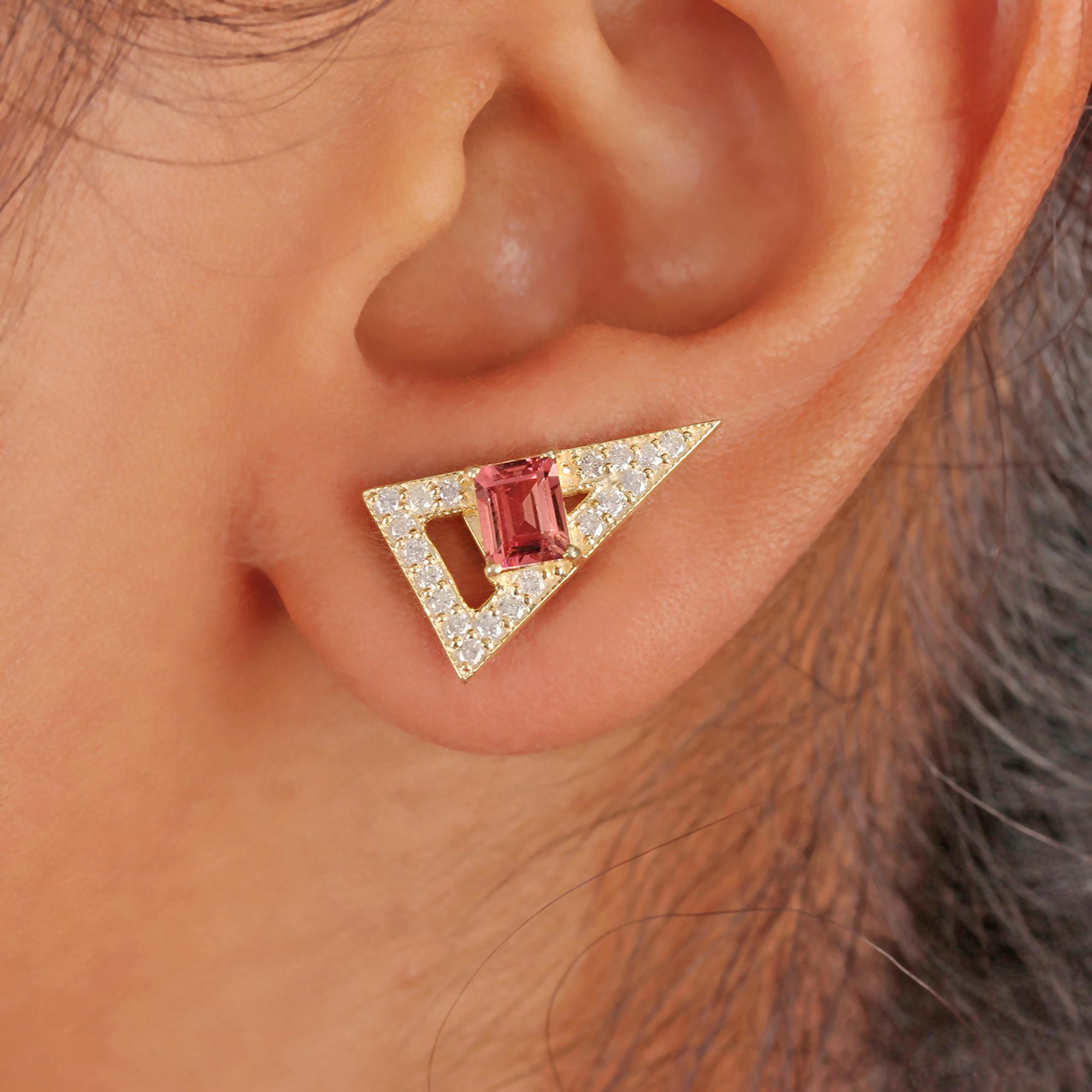 Natural Diamond & Pink Tourmaline 14k Solid Gold Stud Minimalist Earrings