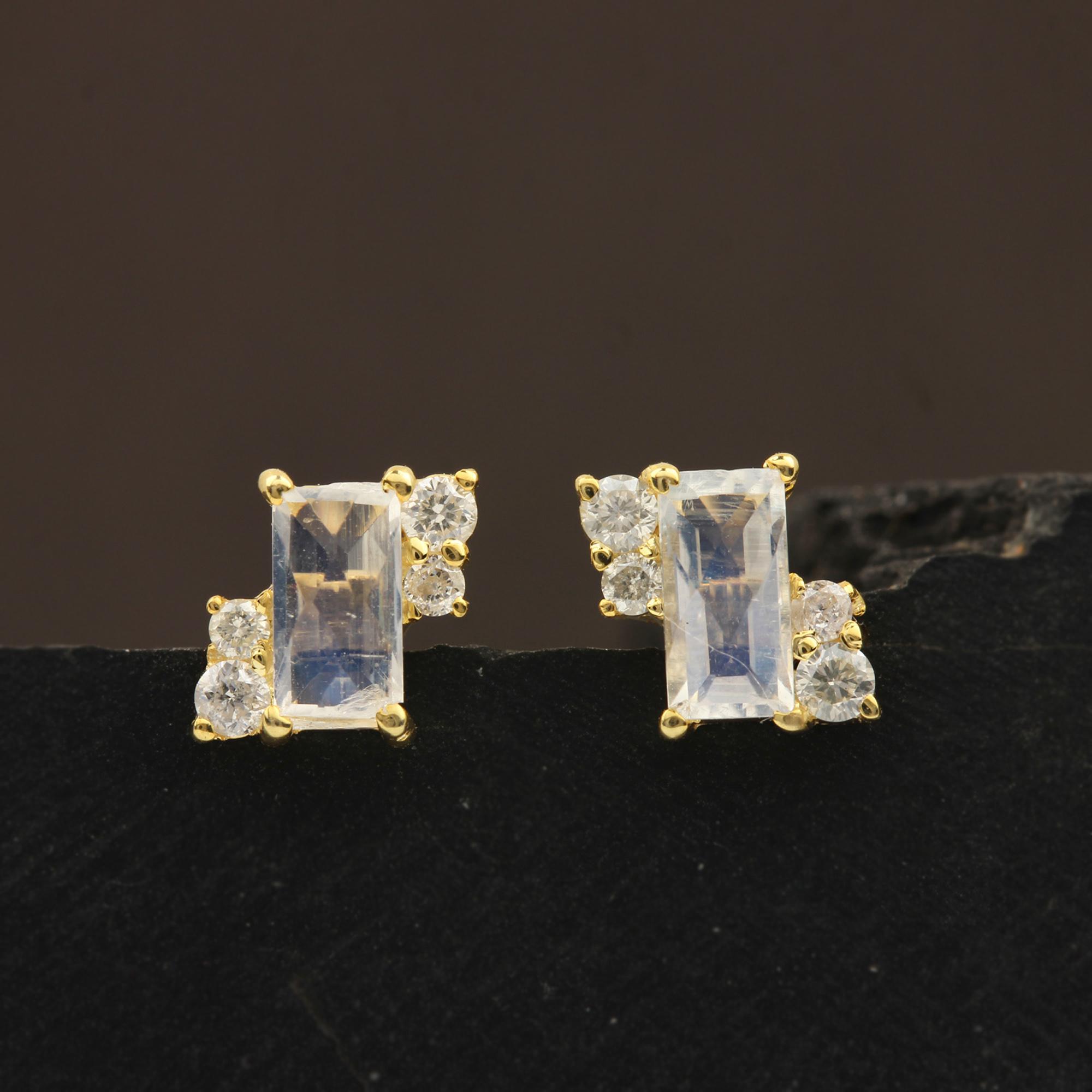 14k Solid Gold Minimalist Stud Earrings Adorned With Diamond & Moonstone