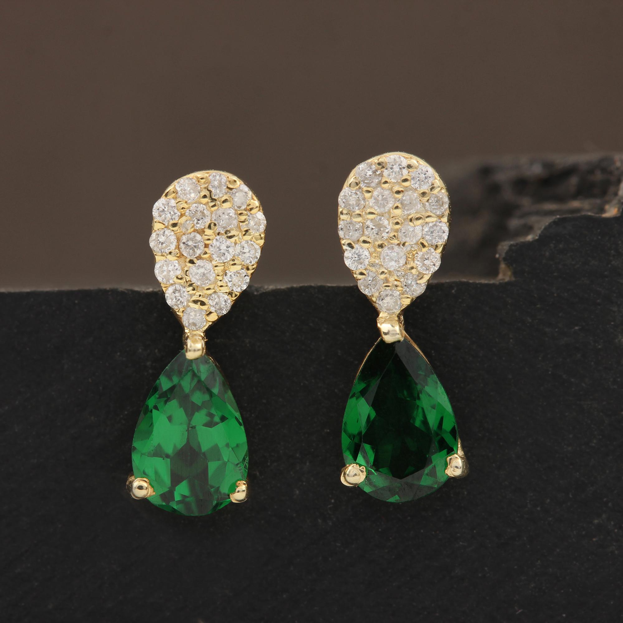 14k Solid Gold Stud Earrings Adorned With Diamond & Tsavorite