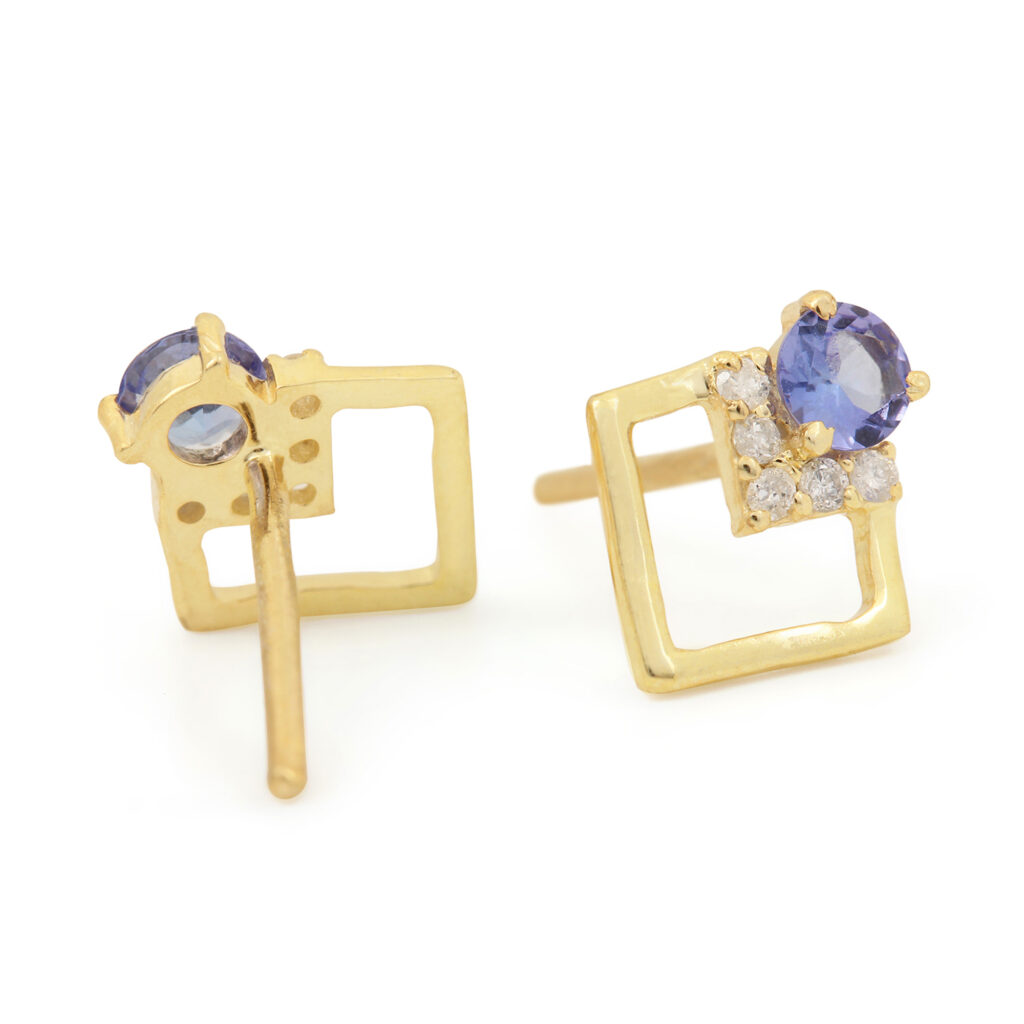 14k Solid Gold Stud Earrings Adorned With Diamond & Tanzanite Gemstone