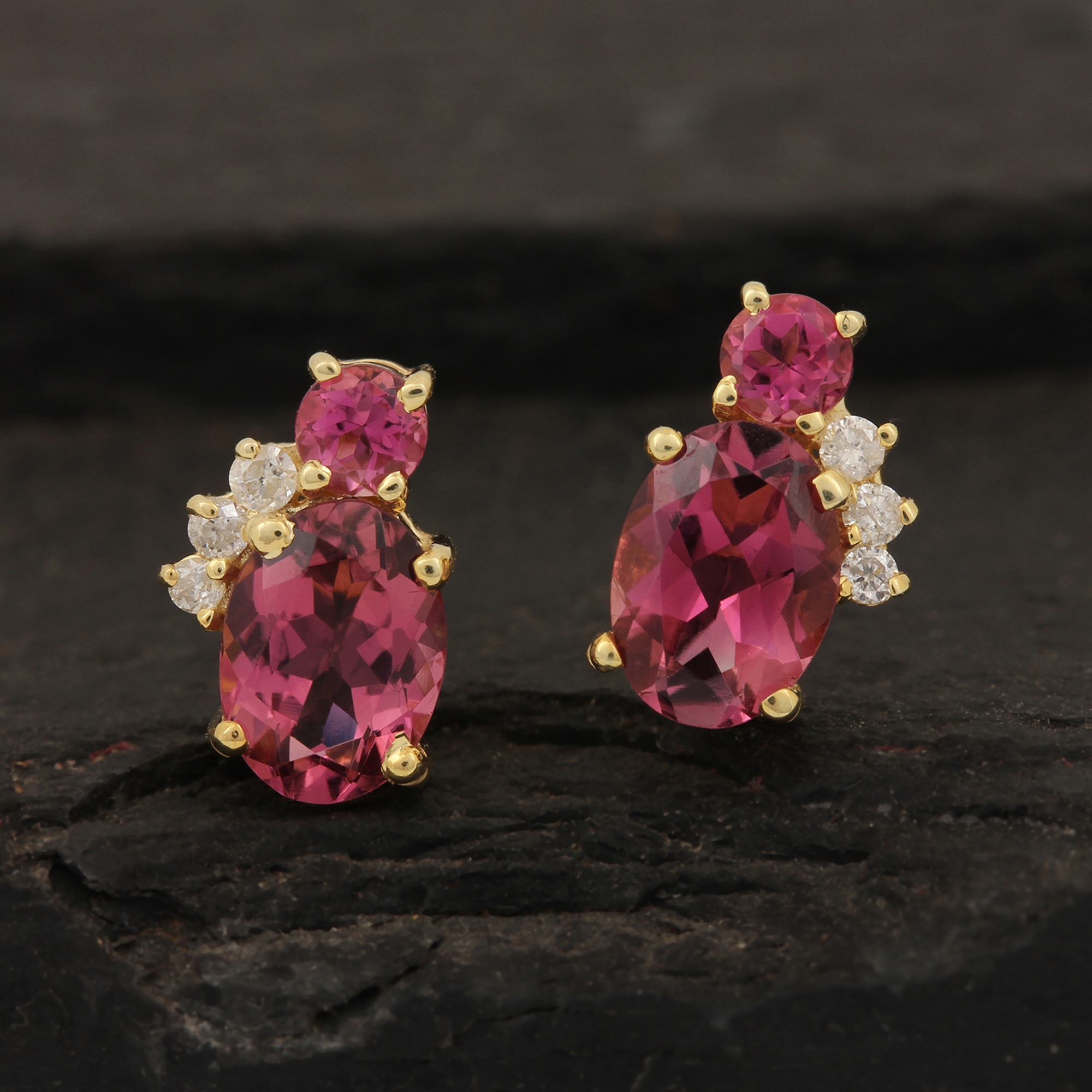 Pink Tourmaline Gemstone 14k Solid Gold Stud Earrings Adorned With Diamond