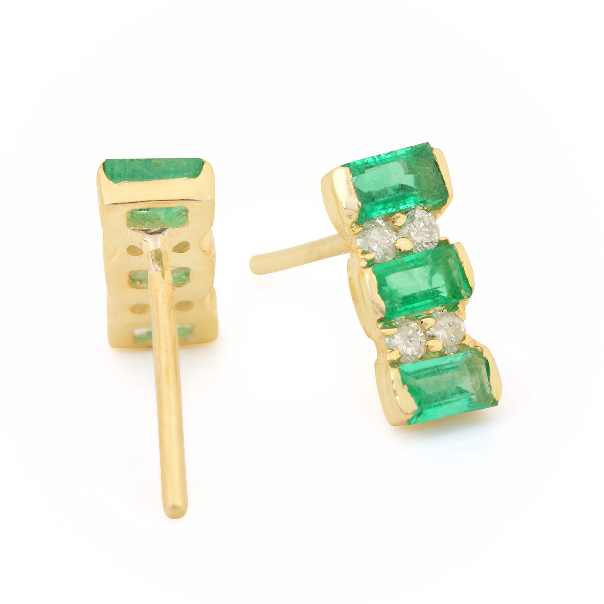 Diamond & Solitaire Emerald Gemstone 14k Solid Gold Stud Earrings