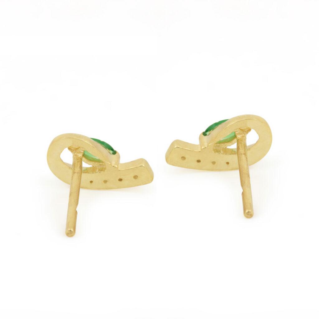 Diamond & Tsavorite Gemstone 14k Solid Gold Stud Earrings